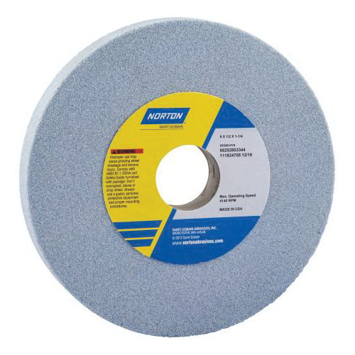 Norton® 66253044091 5SG Straight Toolroom Wheel, 8 in Dia x 1/2 in THK, 1-1/4 in Center Hole, 46 Grit, Ceramic Alumina/Friable Aluminum Oxide Abrasive