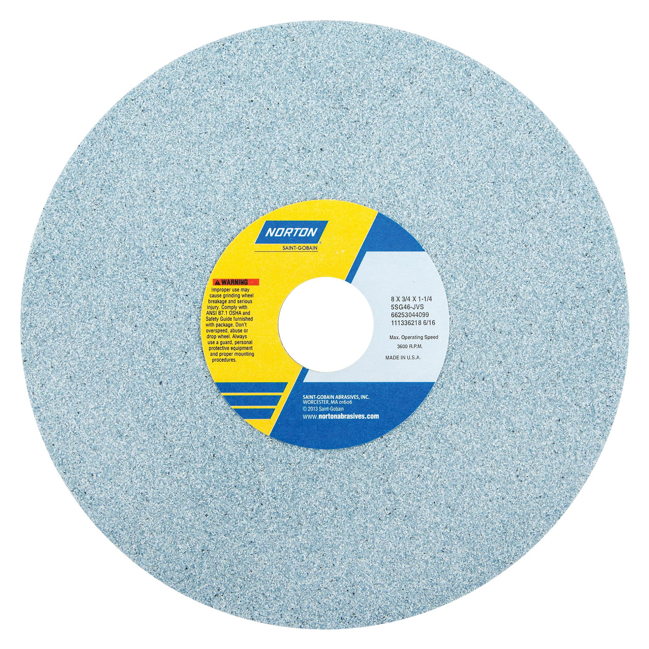 Norton® 66253044099 5SG Straight Toolroom Wheel, 8 in Dia x 3/4 in THK, 1-1/4 in Center Hole, 46 Grit, Ceramic Alumina/Friable Aluminum Oxide Abrasive