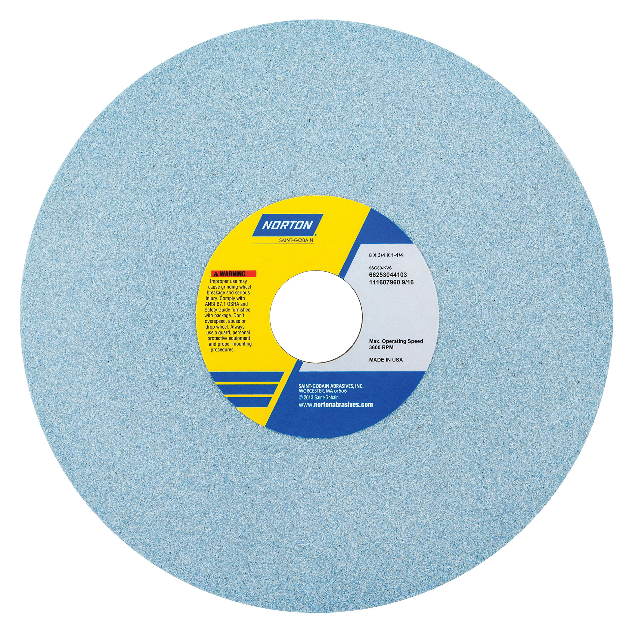 Norton® 66253044103 5SG Straight Toolroom Wheel, 8 in Dia x 3/4 in THK, 1-1/4 in Center Hole, 60 Grit, Ceramic Alumina/Friable Aluminum Oxide Abrasive