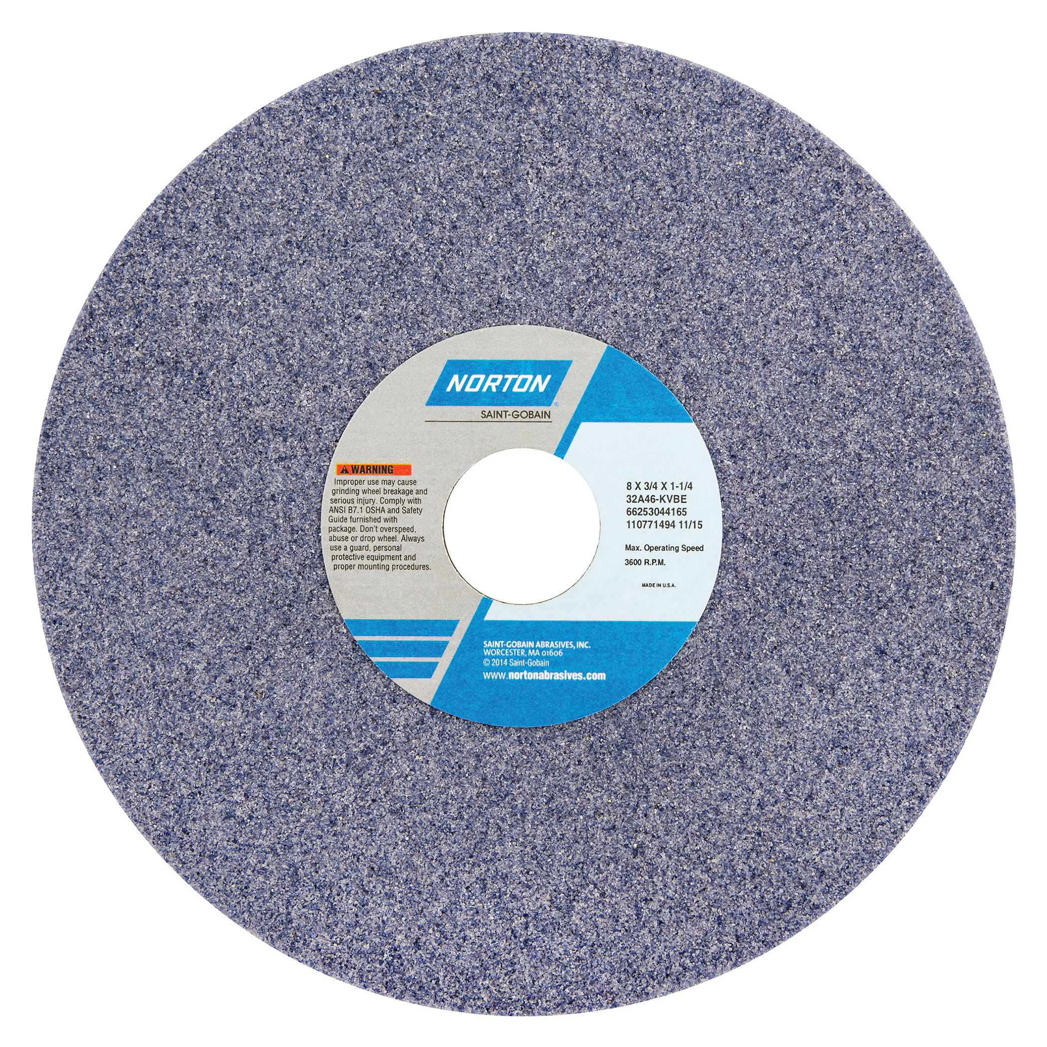 Norton® 66253044165 32A Straight Toolroom Wheel, 8 in Dia x 3/4 in THK, 1-1/4 in Center Hole, 46 Grit, Aluminum Oxide Abrasive