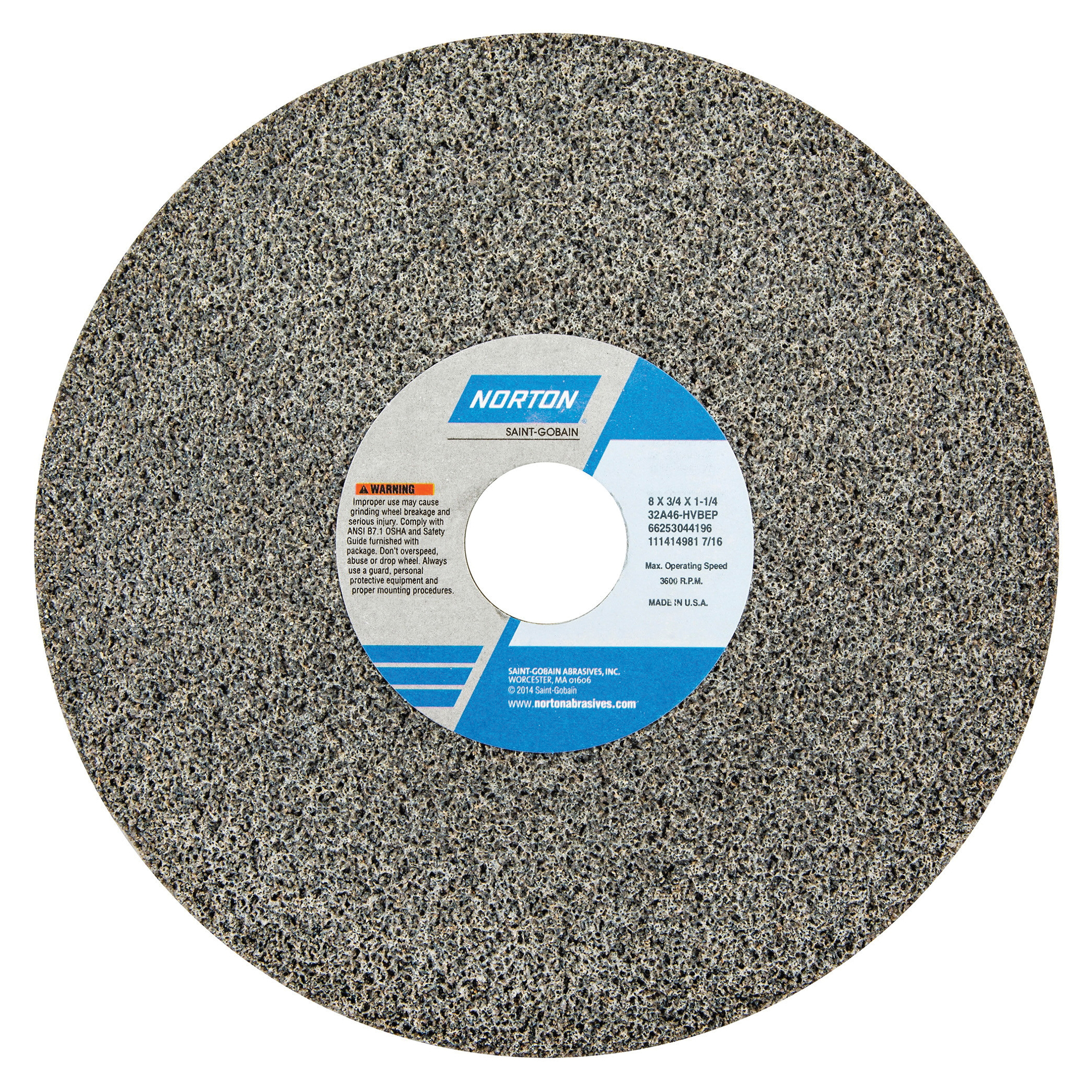 Norton® 66253044198 32A Straight Toolroom Wheel, 8 in Dia x 3/4 in THK, 1-1/4 in Center Hole, 60 Grit, Aluminum Oxide Abrasive