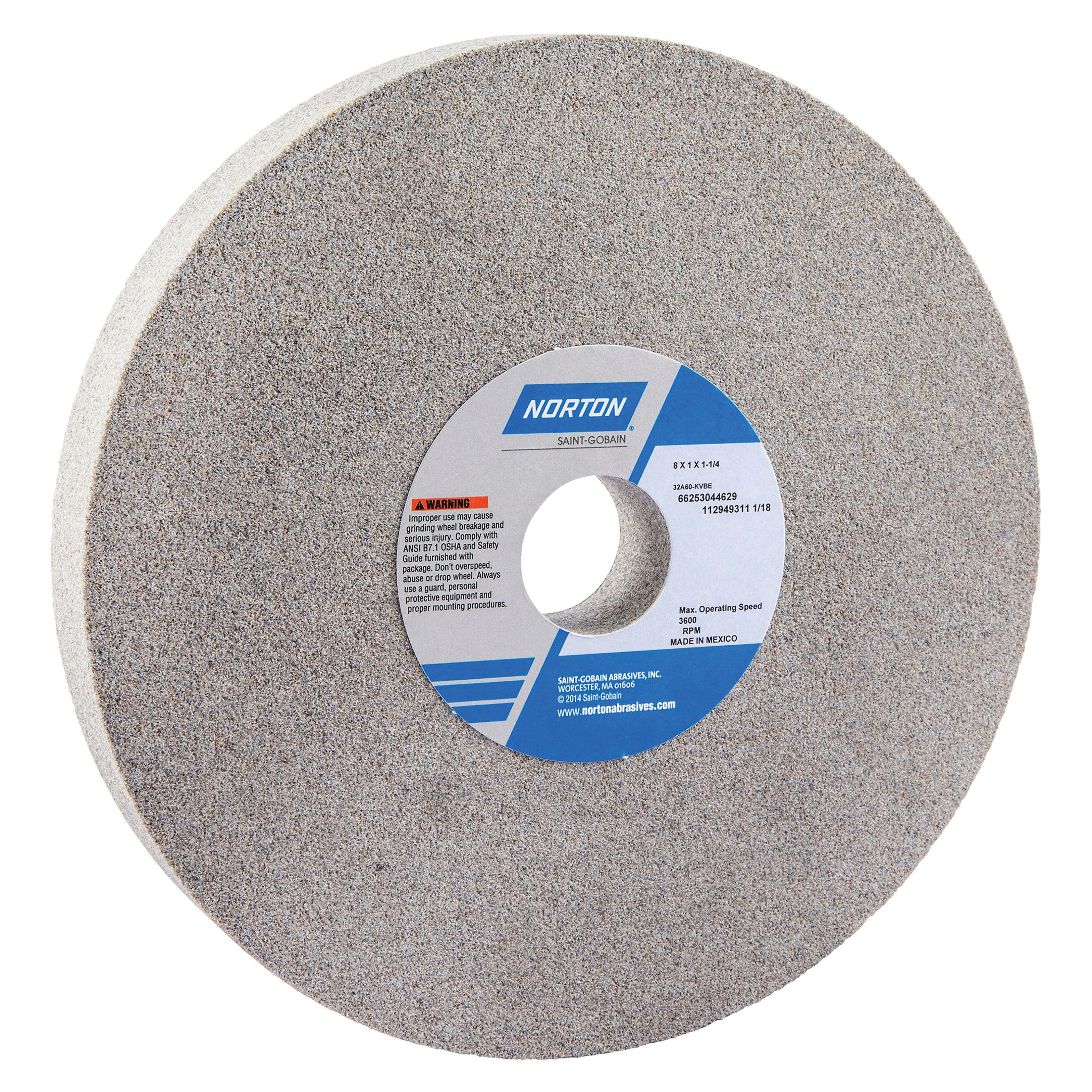Norton® 66253044629 32A Straight Toolroom Wheel, 8 in Dia x 1 in THK, 1-1/4 in Center Hole, 60 Grit, Aluminum Oxide Abrasive