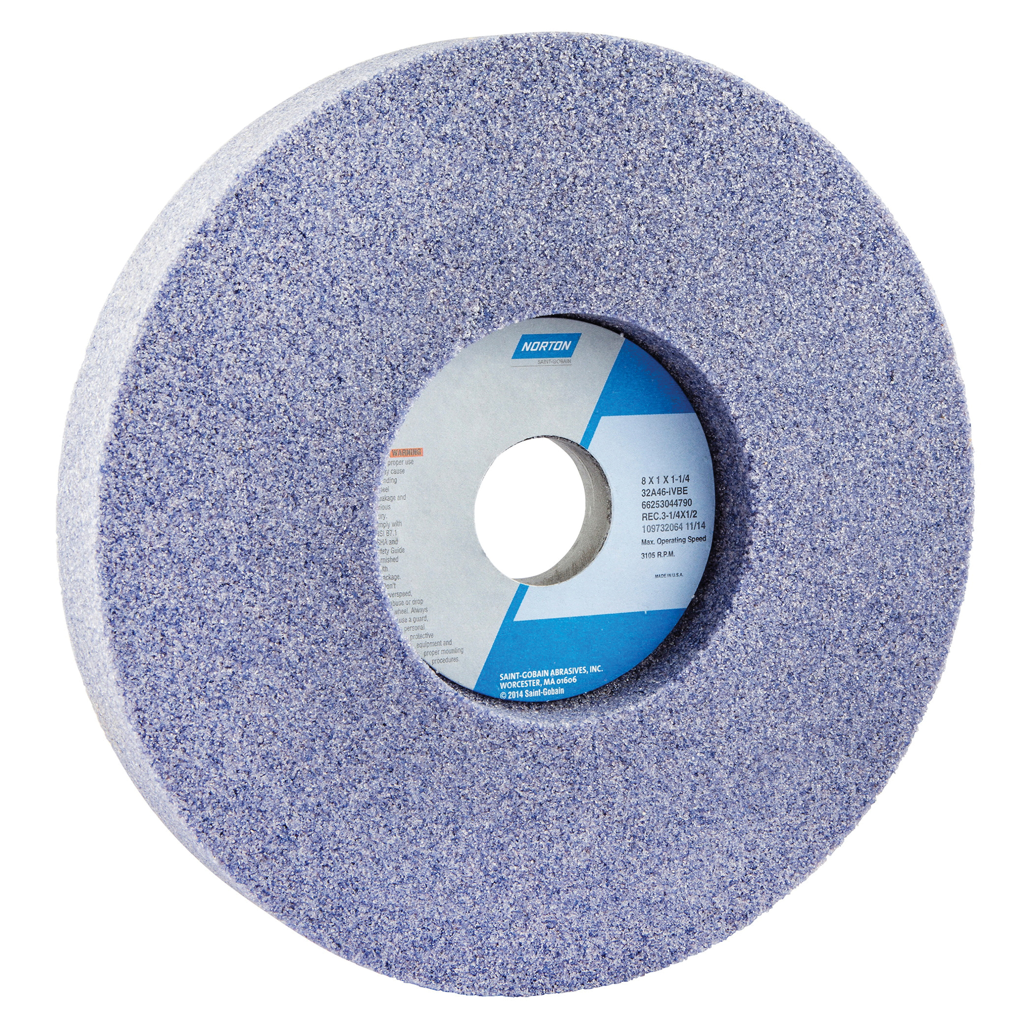 Norton® 66253044790 32A 1-Side Recessed Toolroom Wheel, 8 in Dia x 1 in THK, 1-1/4 in Center Hole, 46 Grit, Aluminum Oxide Abrasive