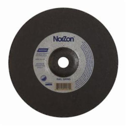 Norton® NorZon® III 66253049069 Depressed Center Wheel, 9 in Dia x 1/4 in THK, 7/8 in Center Hole, 24 Grit, Ceramic Alumina/Zirconia Alumina Abrasive