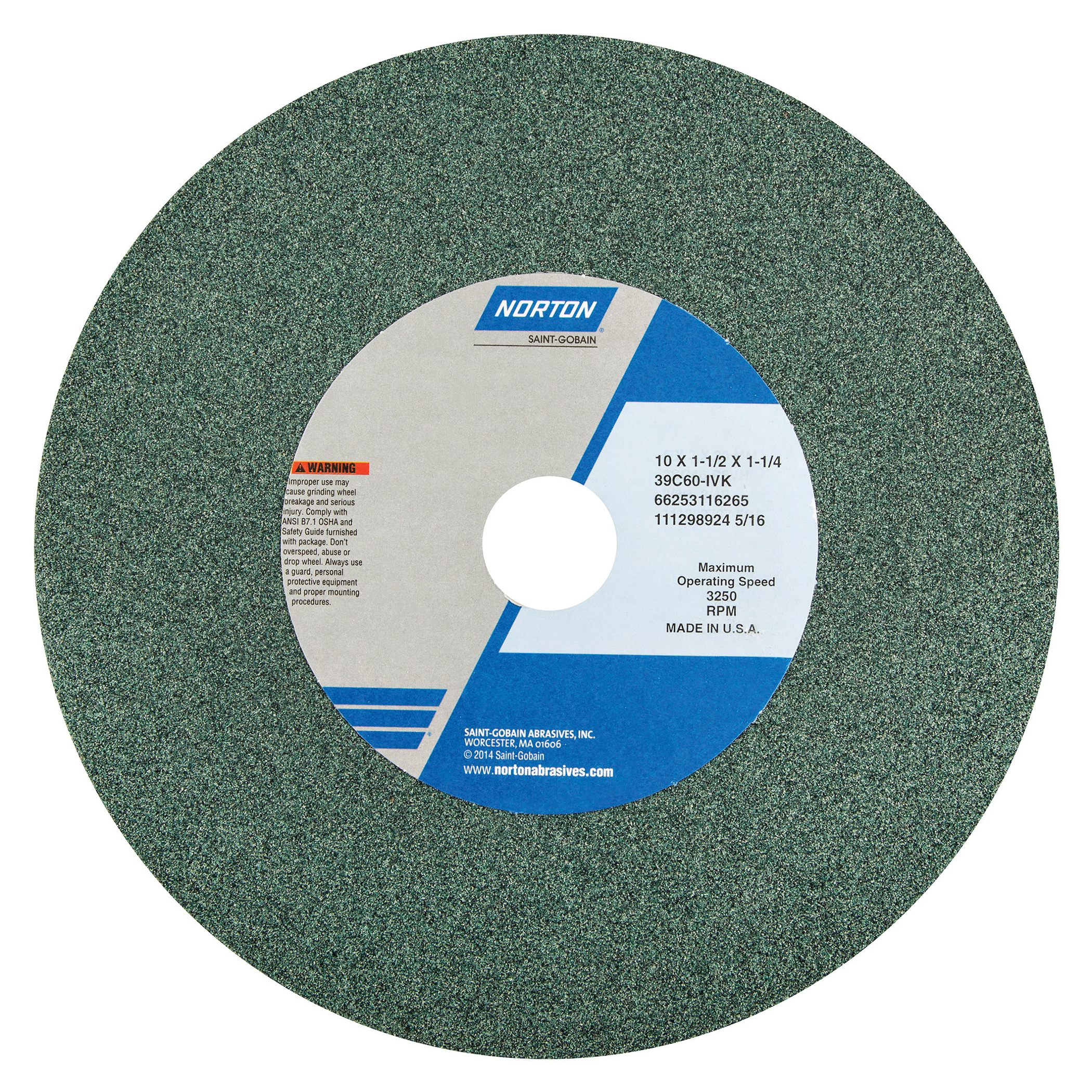 Norton® 66253116265 39C Straight Bench and Pedestal Grinding Wheel, 10 in Dia x 1-1/2 in THK, 1-1/4 in Center Hole, 60 Grit, Silicon Carbide Abrasive