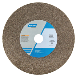 Norton® 66253116274 57A Bench and Pedestal Grinding Wheel, 10 in Dia x 1 in THK, 1-1/4 in Center Hole, 46 Grit, Aluminum Oxide Abrasive