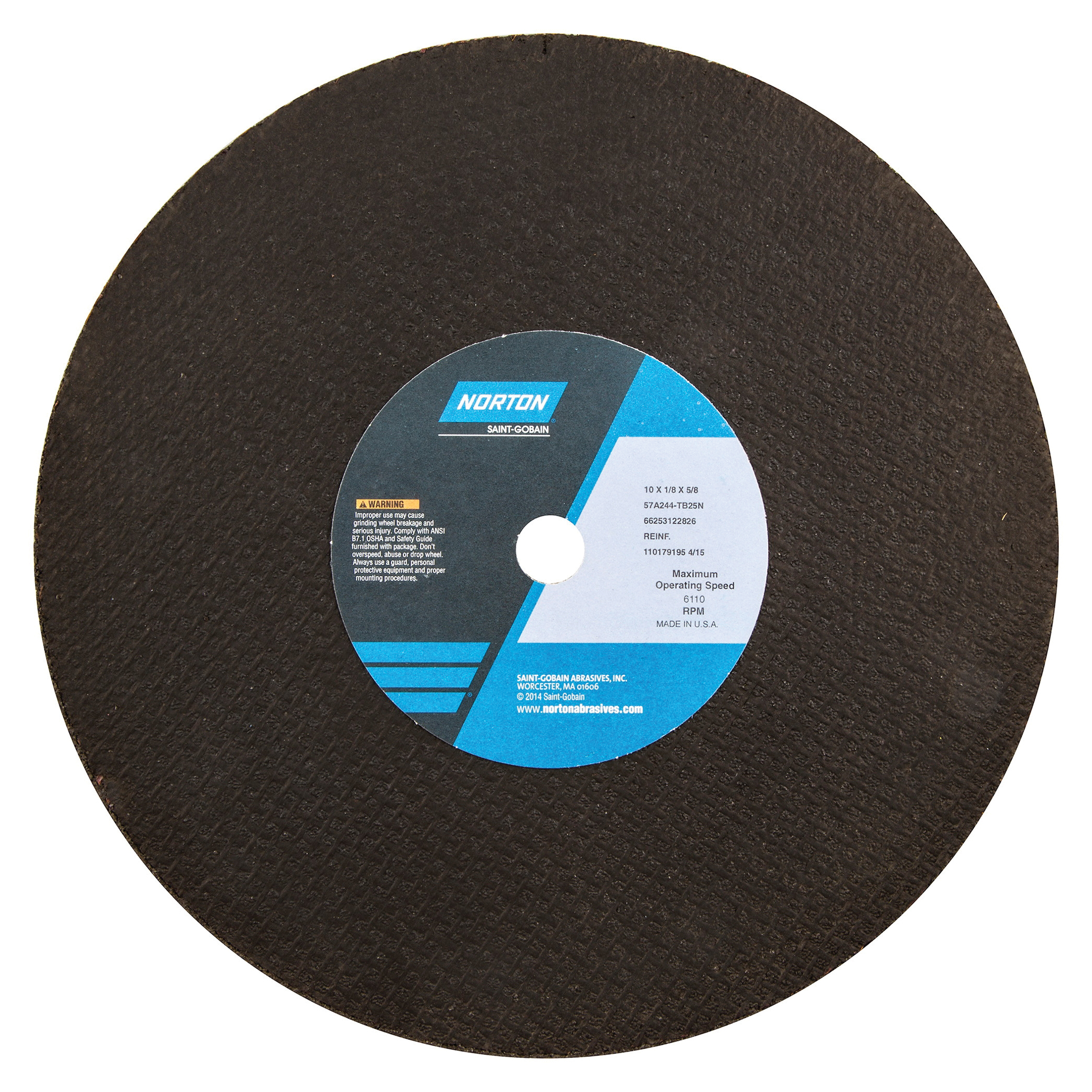 Norton® 66253122826 57A Toolroom Cut-Off Wheel, 10 in Dia x 1/8 in THK, 5/8 in Center Hole, 24 Grit, Aluminum Oxide Abrasive