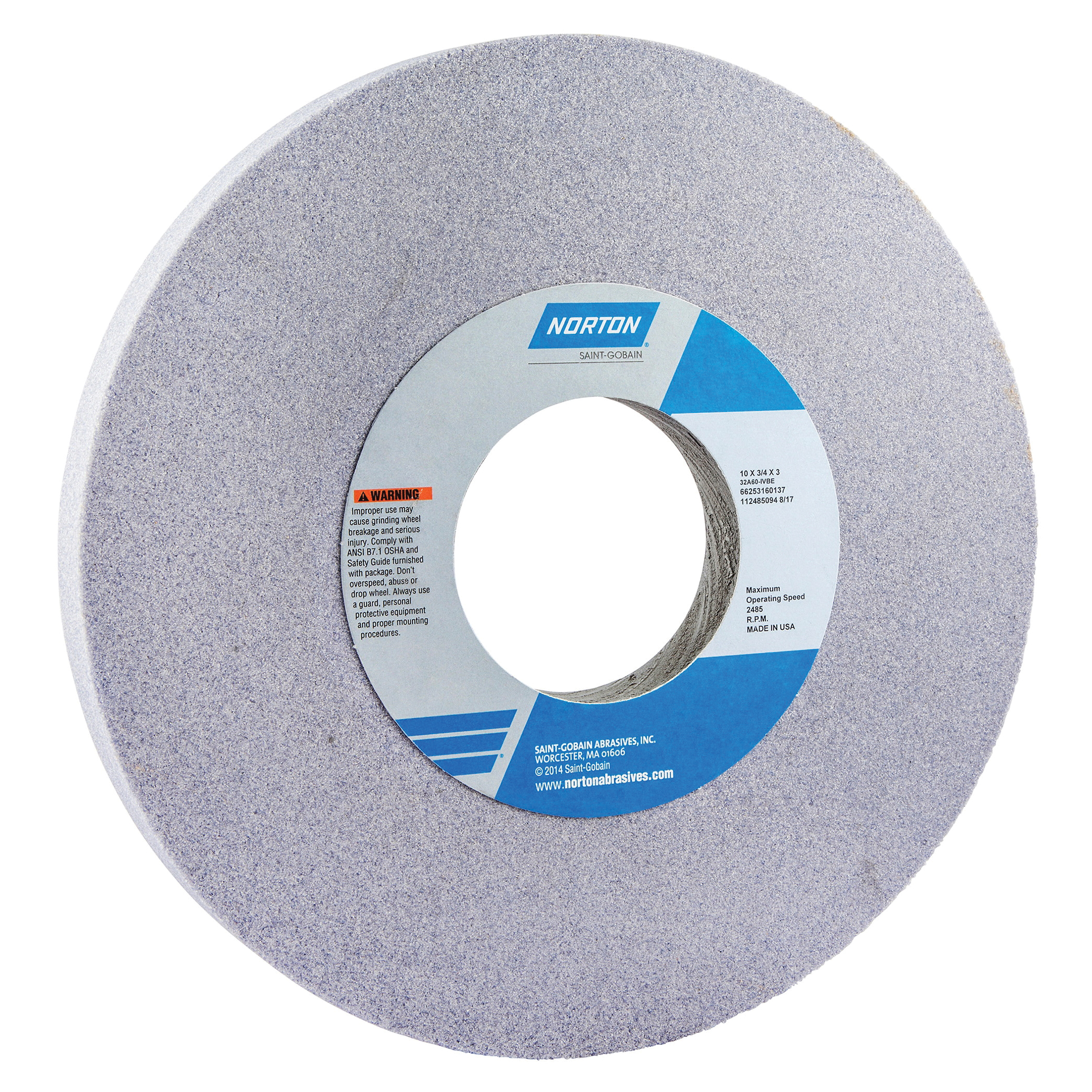 Norton® 66253160137 32A Straight Toolroom Wheel, 10 in Dia x 3/4 in THK, 3 in Center Hole, 60 Grit, Aluminum Oxide Abrasive