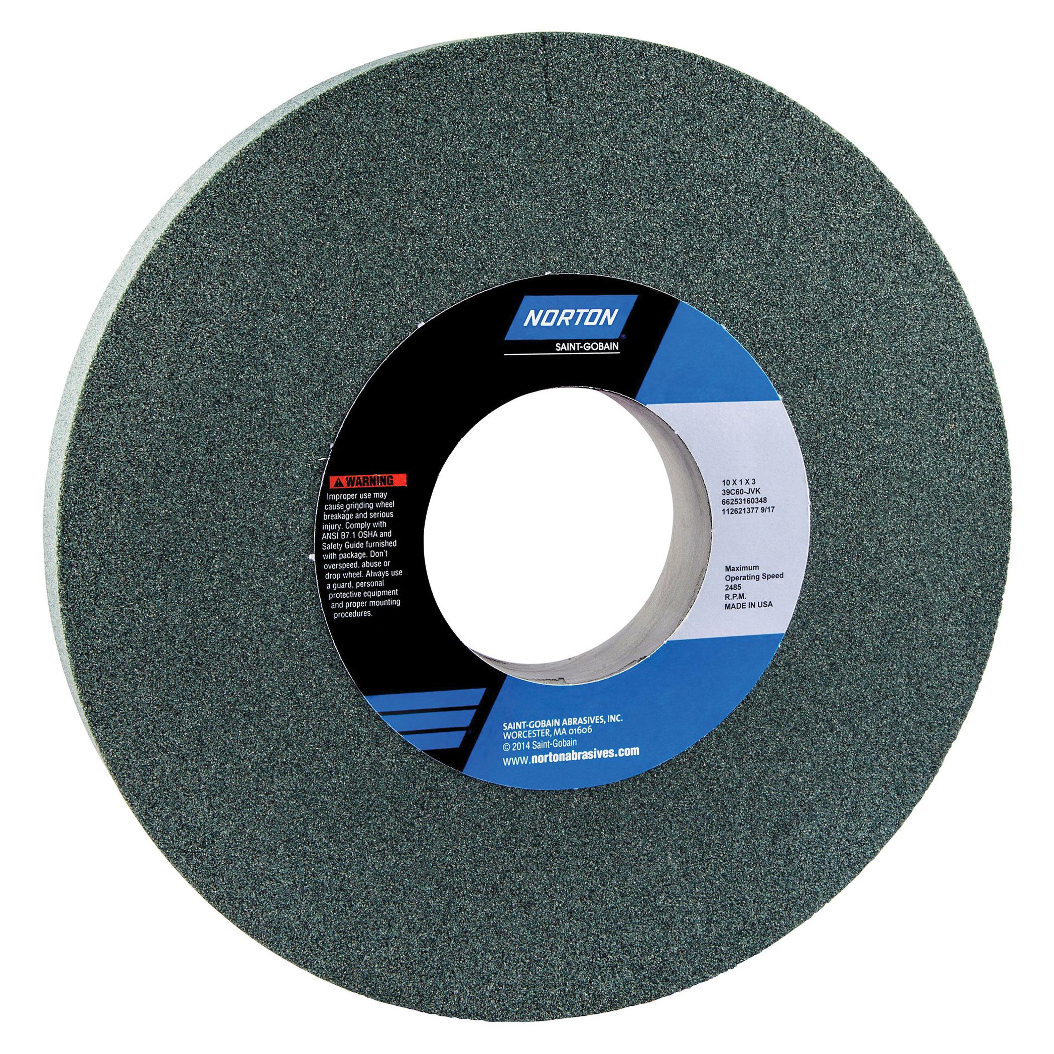 Norton® 66253160348 39C Straight Toolroom Wheel, 10 in Dia x 1 in THK, 3 in Center Hole, 60 Grit, Silicon Carbide Abrasive