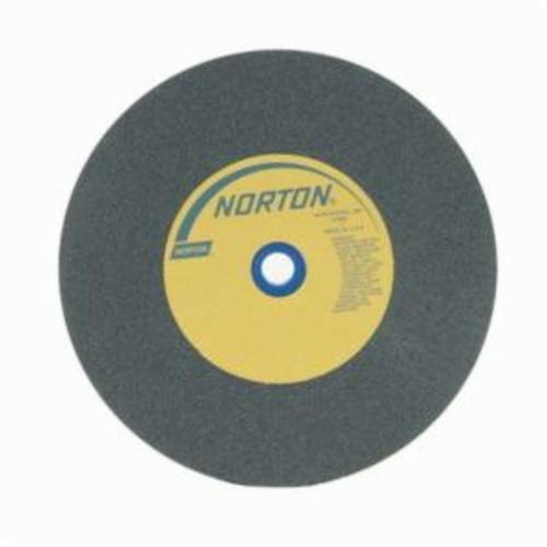 Norton® Gemini® Crystolon® 66253160366 Straight Bench and Pedestal Grinding Wheel, 10 in Dia x 1 in THK, 1 in Center Hole, 80 Grit, Silicon Carbide Abrasive