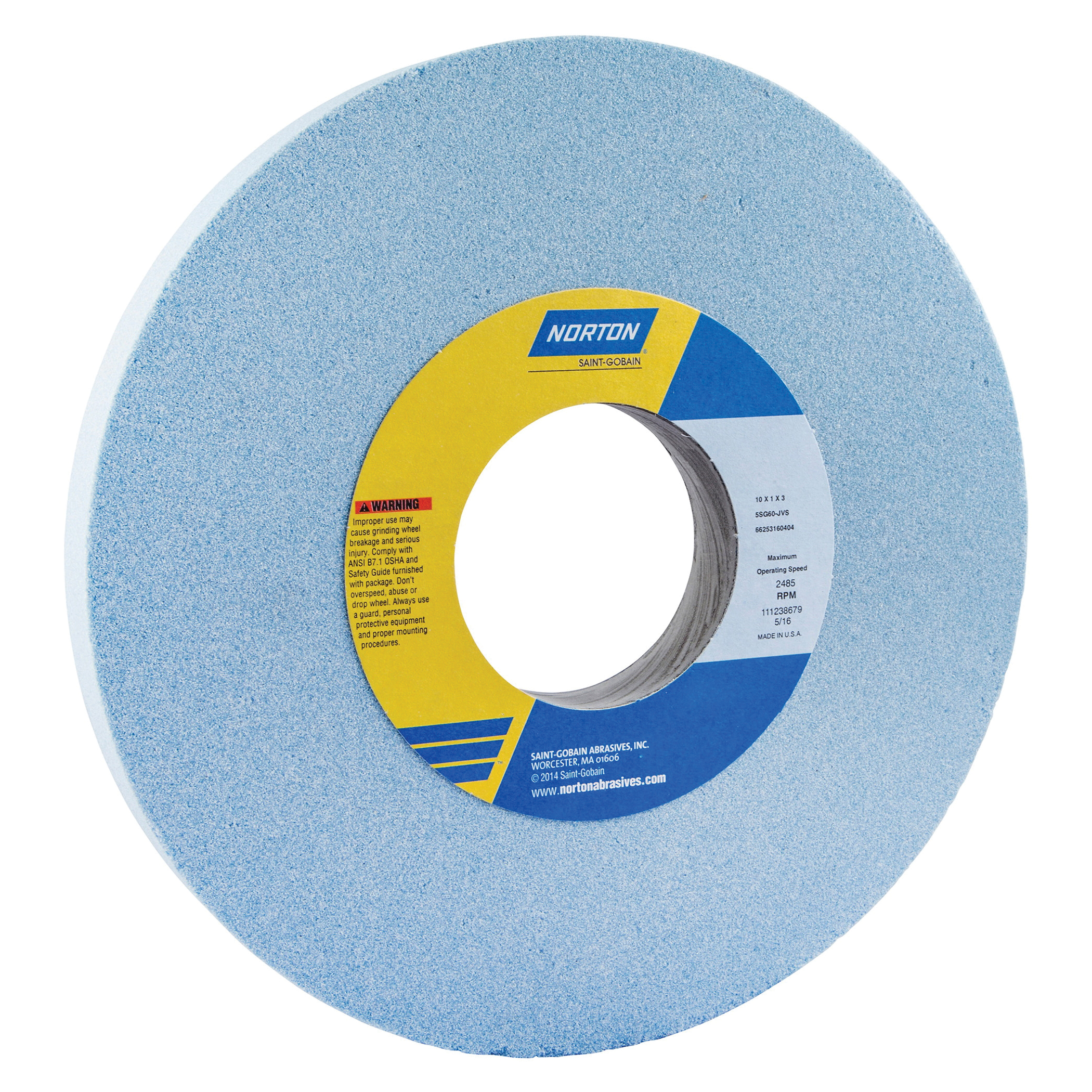 Norton® 66253160402 5SG Straight Toolroom Wheel, 10 in Dia x 1 in THK, 3 in Center Hole, 46 Grit, Ceramic Alumina/Friable Aluminum Oxide Abrasive