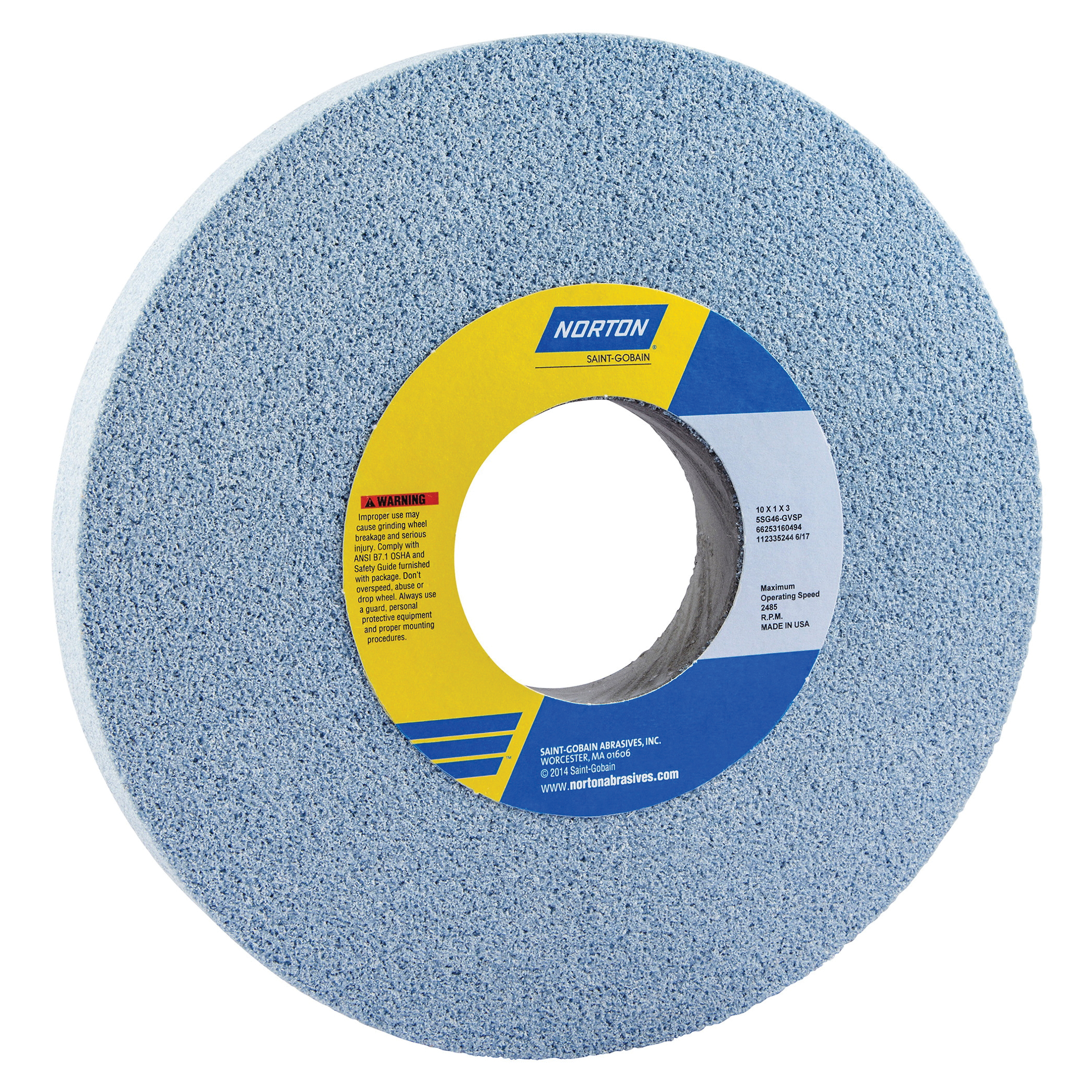 Norton® 66253160495 5SG Straight Toolroom Wheel, 10 in Dia x 1 in THK, 3 in Center Hole, 60 Grit, Ceramic Alumina/Friable Aluminum Oxide Abrasive
