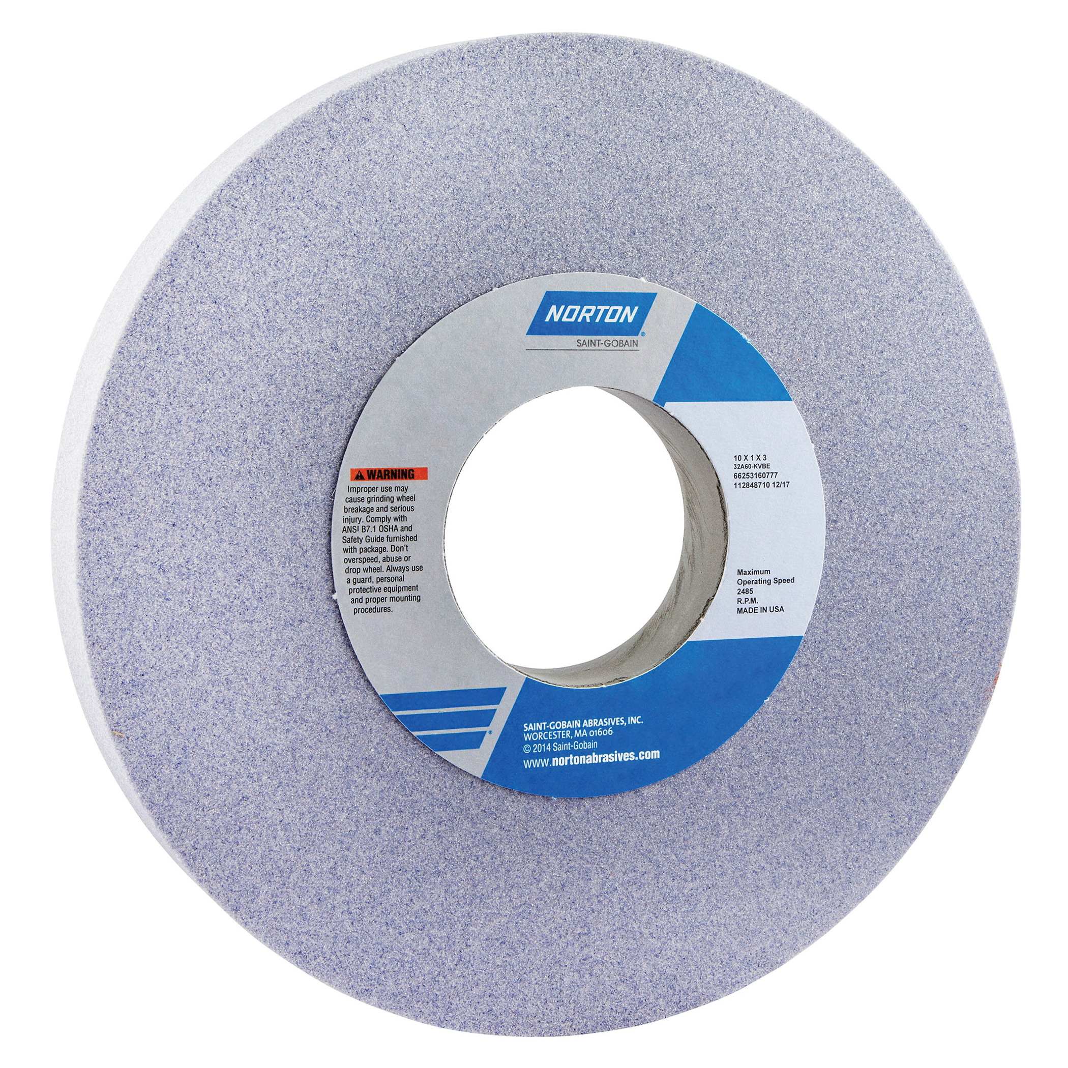 Norton® 66253160777 32A Straight Toolroom Wheel, 10 in Dia x 1 in THK, 3 in Center Hole, 60 Grit, Aluminum Oxide Abrasive