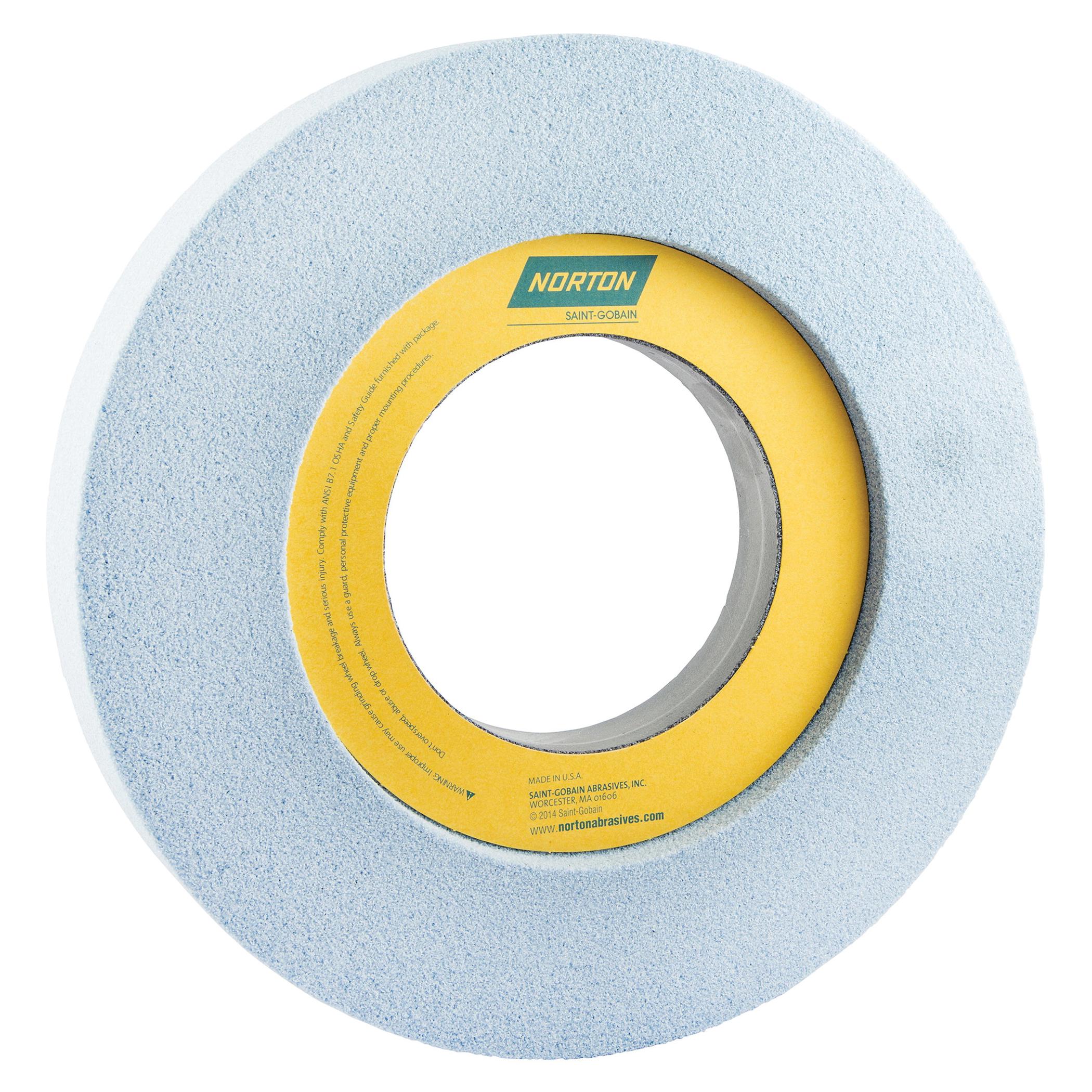 Norton® 66253202883 5SG 1-Side Recessed Toolroom Wheel, 12 in Dia x 1-1/2 in THK, 5 in Center Hole, 46 Grit, Ceramic Alumina/Friable Aluminum Oxide Abrasive