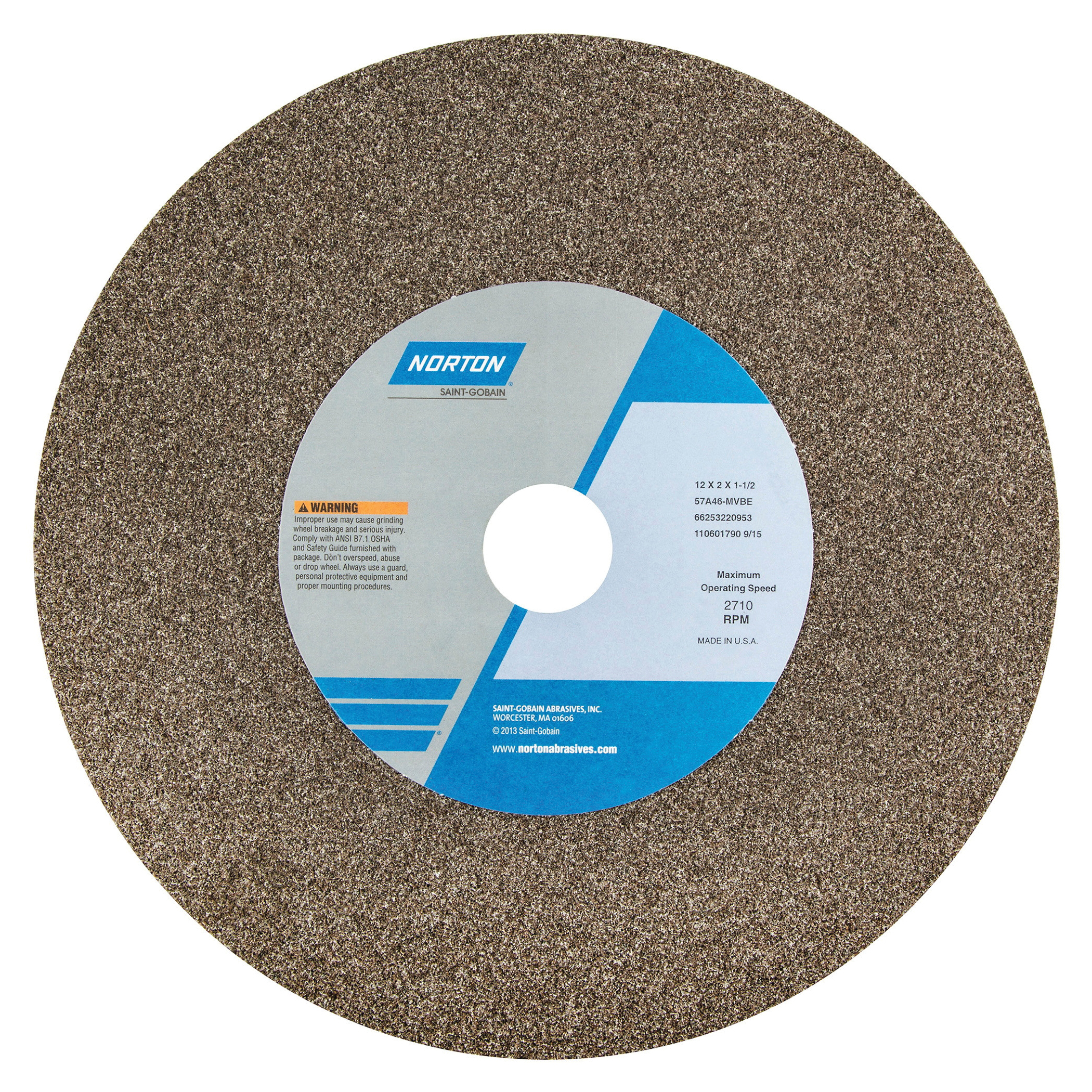 Norton® 66253220953 57A Type 01 Bench and Pedestal Grinding Wheel, 12 in Dia x 2 in THK, 1-1/2 in Center Hole, 46 Grit, Aluminum Oxide Abrasive