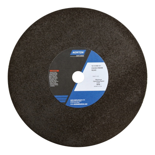 Norton® 66253261999 23A Type 01/41 Reinforced Cut-Off Wheel, 12 in Dia x 3/32 in THK, 1 in Center Hole, 36 Grit, Aluminum Oxide Abrasive