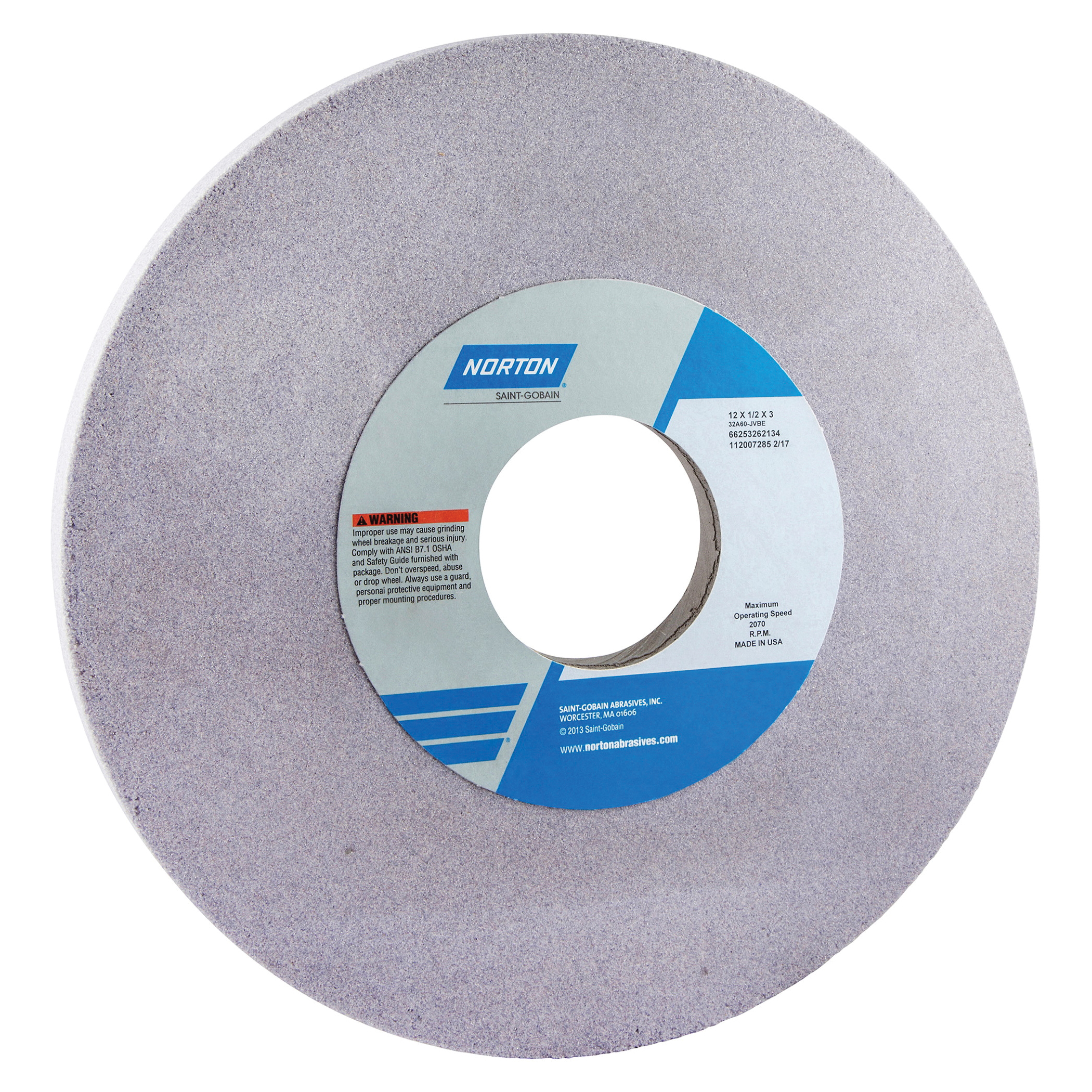 Norton® 66253262110 32A Straight Toolroom Wheel, 12 in Dia x 1/2 in THK, 3 in Center Hole, 80 Grit, Aluminum Oxide Abrasive