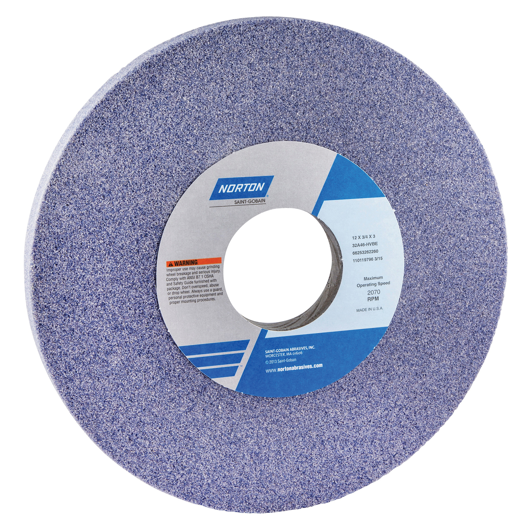 Norton® 66253262261 32A Straight Toolroom Wheel, 12 in Dia x 3/4 in THK, 3 in Center Hole, 46 Grit, Aluminum Oxide Abrasive