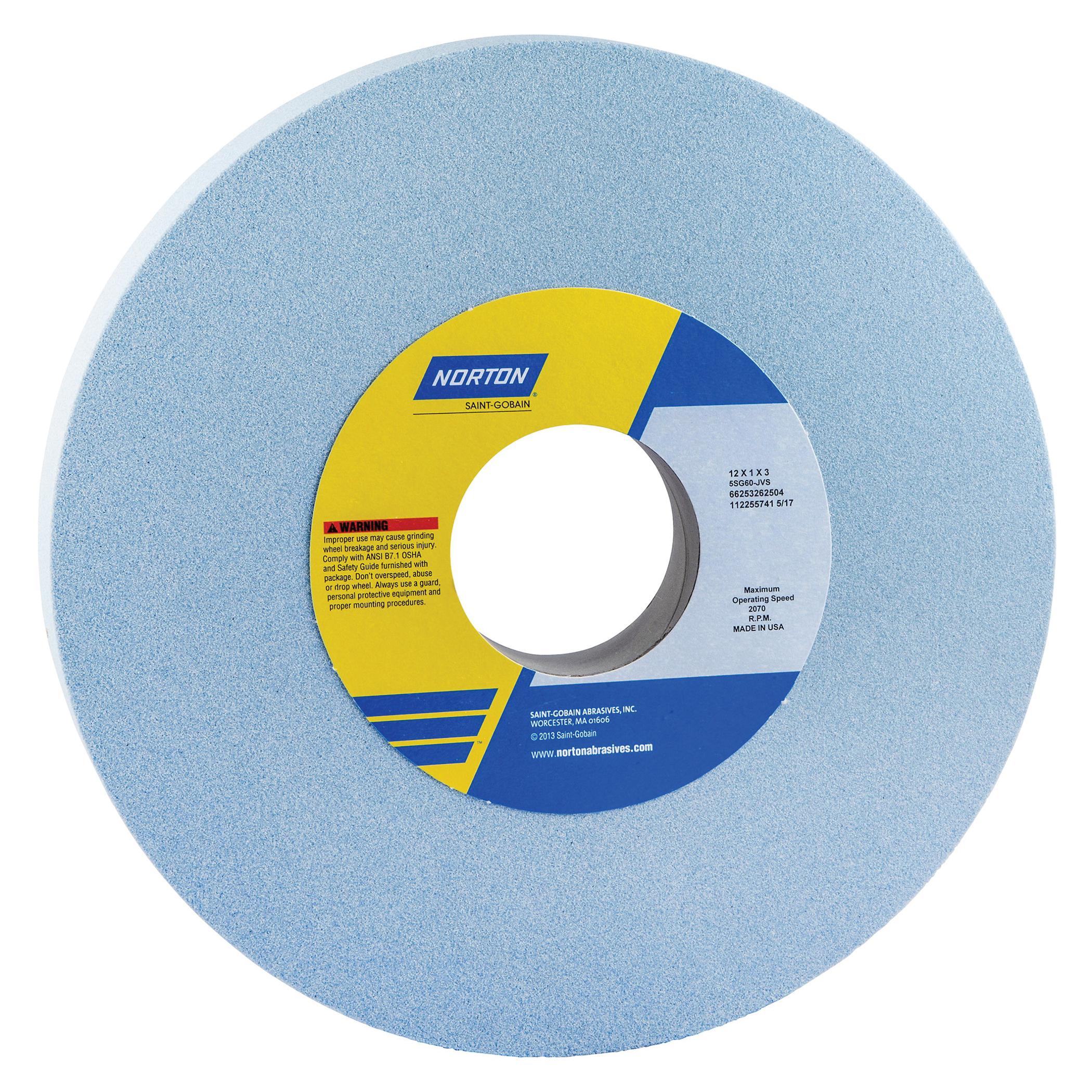 Norton® 66253262504 5SG Straight Toolroom Wheel, 12 in Dia x 1 in THK, 3 in Center Hole, 60 Grit, Ceramic Alumina/Friable Aluminum Oxide Abrasive