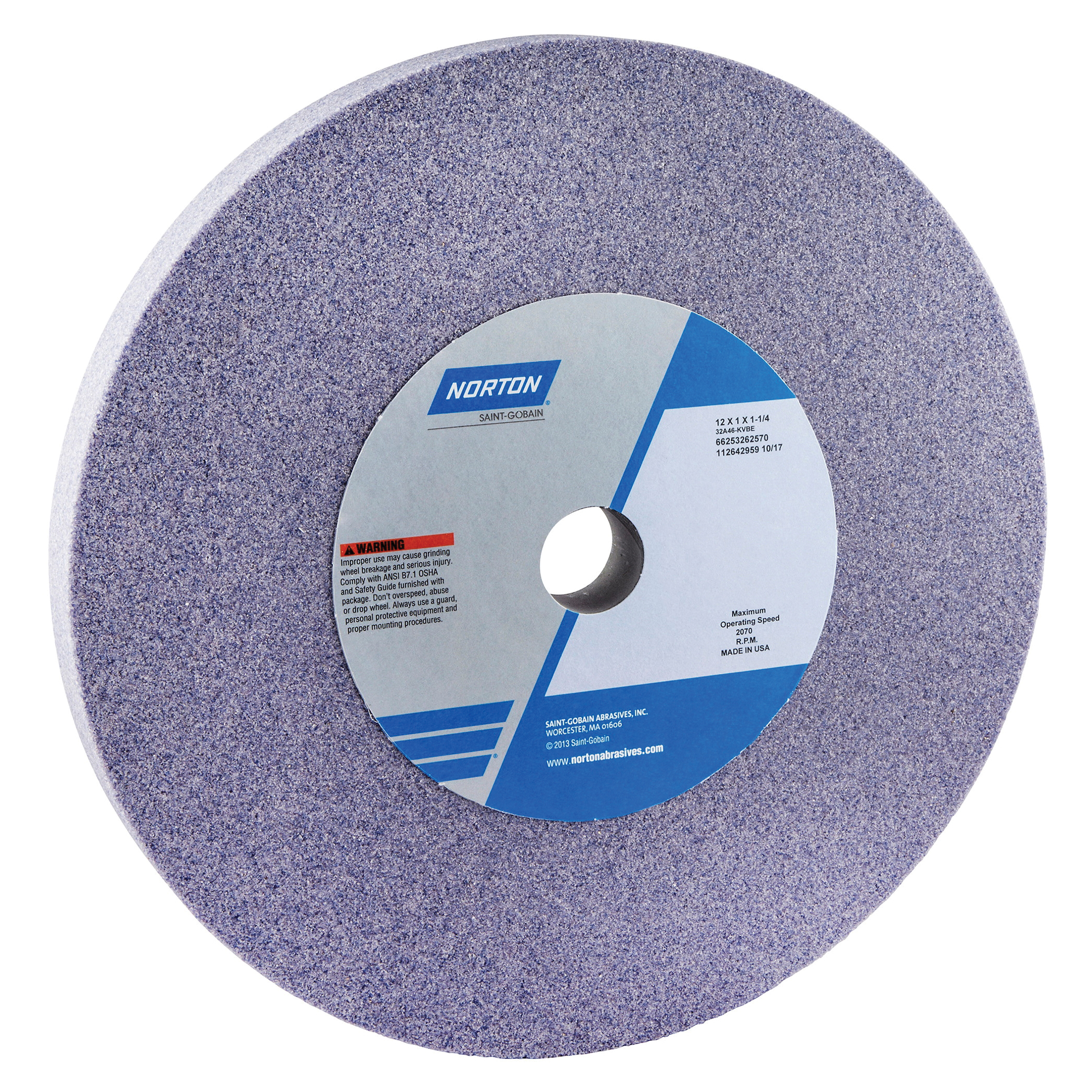 Norton® 66253262570 32A Straight Toolroom Wheel, 12 in Dia x 1 in THK, 1-1/4 in Center Hole, 46 Grit, Aluminum Oxide Abrasive