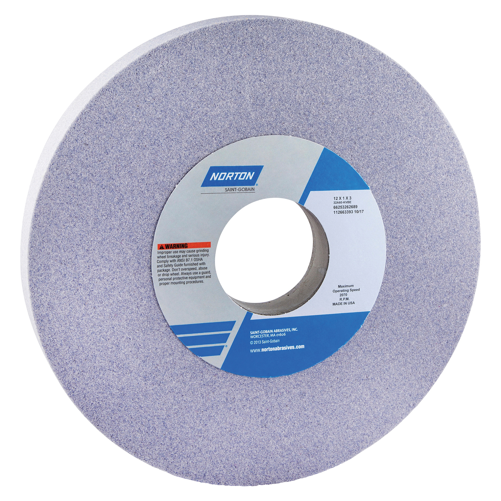 Norton® 66253262580 32A Straight Toolroom Wheel, 12 in Dia x 1 in THK, 3 in Center Hole, 60 Grit, Aluminum Oxide Abrasive