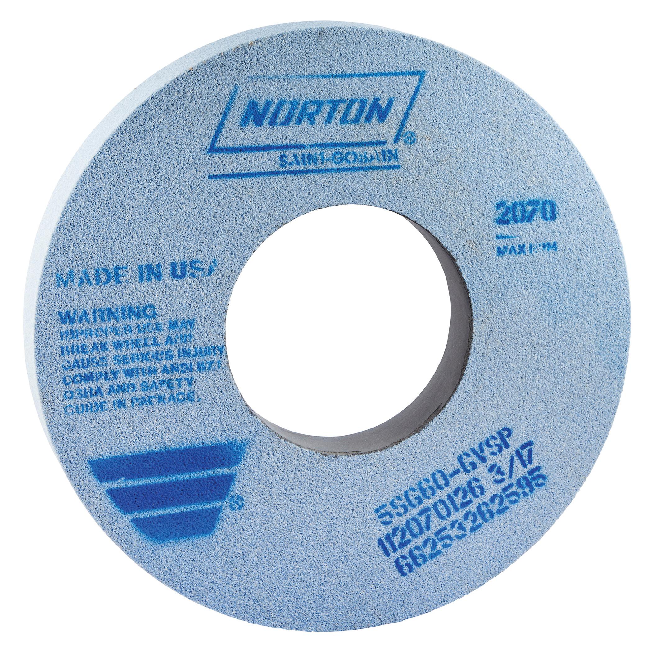 Norton® 66253262594 5SG Straight Toolroom Wheel, 12 in Dia x 1 in THK, 5 in Center Hole, 46 Grit, Ceramic Alumina/Friable Aluminum Oxide Abrasive