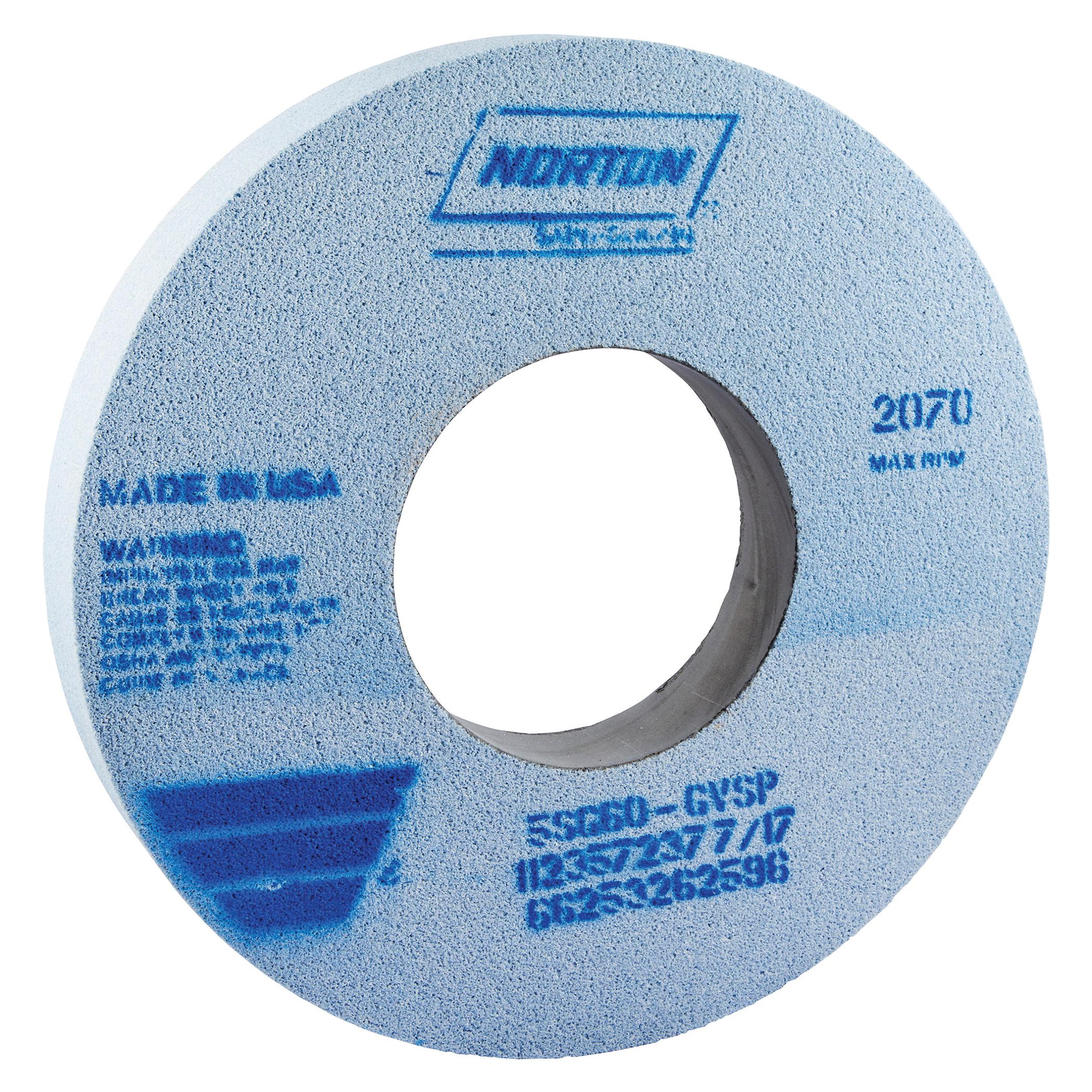 Norton® 66253262596 5SG Straight Toolroom Wheel, 12 in Dia x 1-1/2 in THK, 5 in Center Hole, 60 Grit, Ceramic Alumina/Friable Aluminum Oxide Abrasive