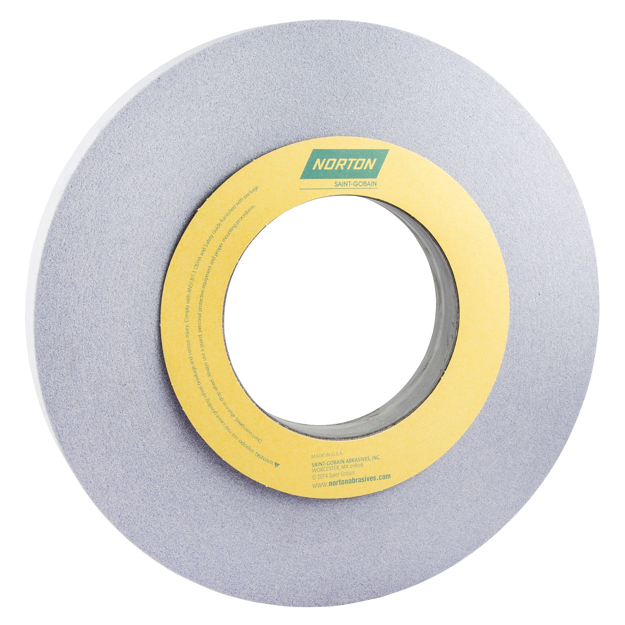 Norton® 66253262696 32A Straight Toolroom Wheel, 12 in Dia x 1 in THK, 5 in Center Hole, 80 Grit, Aluminum Oxide Abrasive