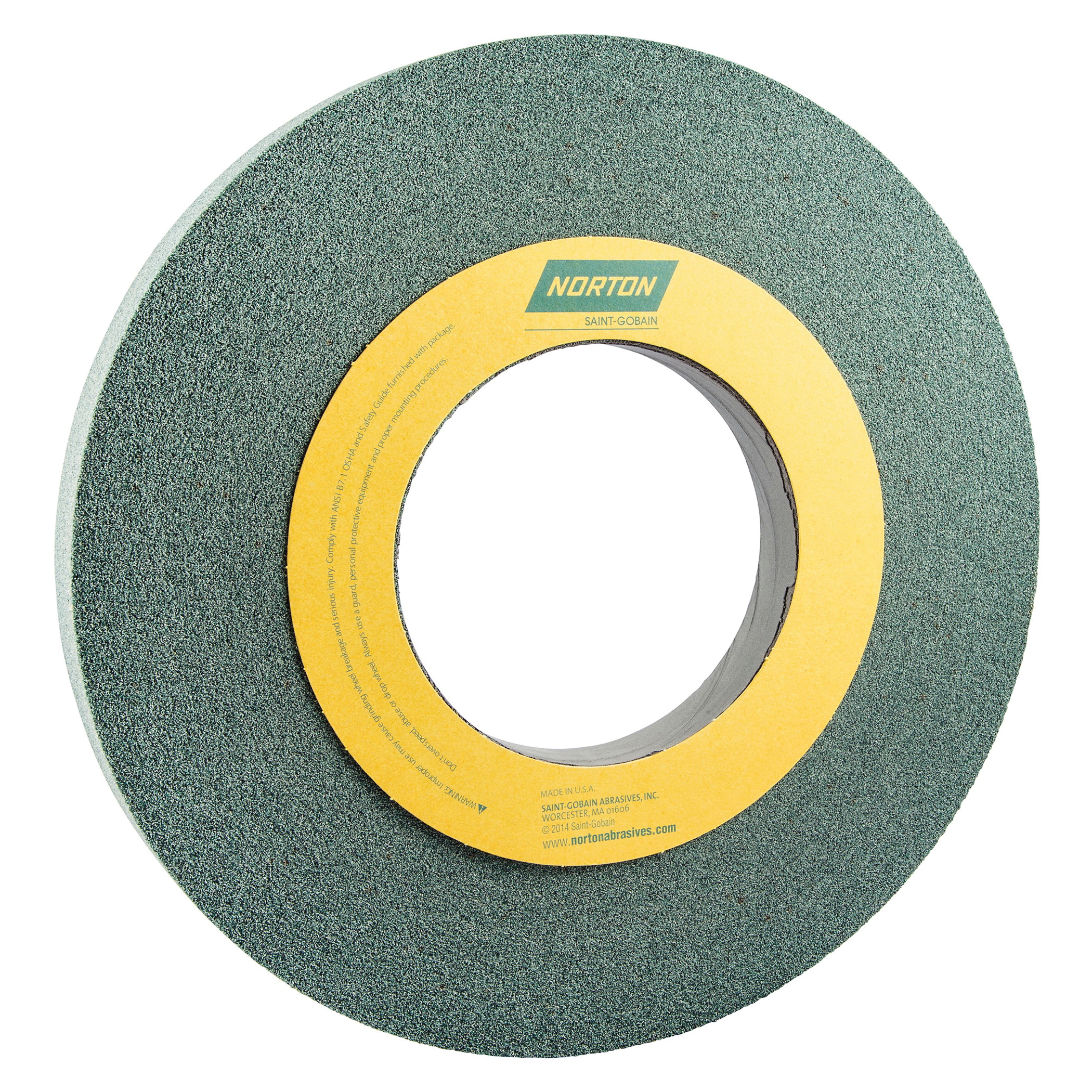 Norton® 66253262884 39C Straight Toolroom Wheel, 12 in Dia x 1 in THK, 5 in Center Hole, 60 Grit, Silicon Carbide Abrasive