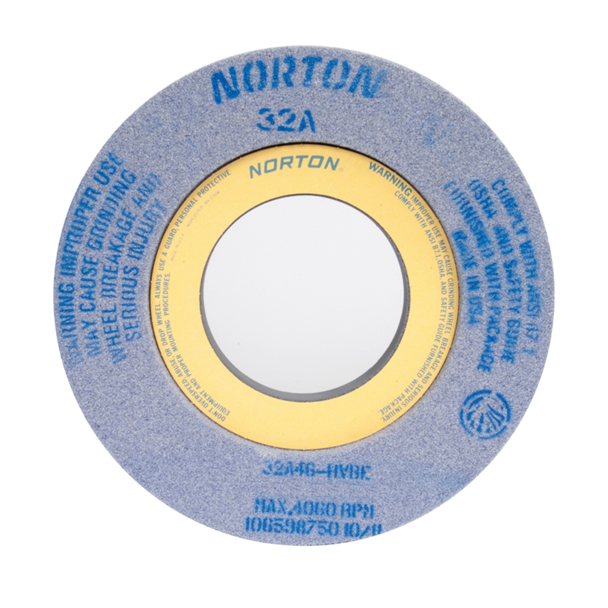Norton® 66253263596 32A 2-Side Recessed Toolroom Wheel, 12 in Dia x 2 in THK, 5 in Center Hole, 46 Grit, Aluminum Oxide Abrasive