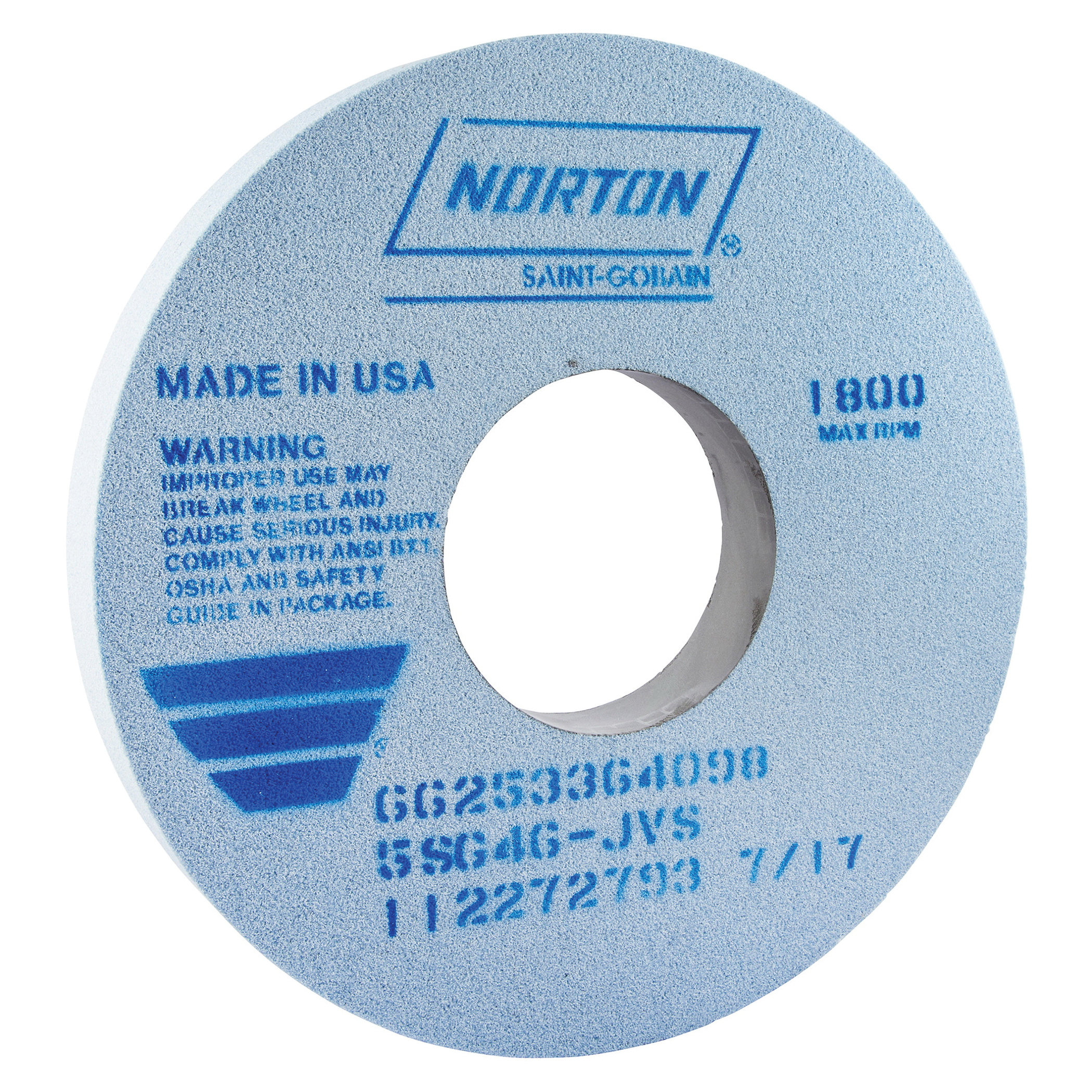 Norton® 66253302160 5SG Straight Toolroom Wheel, 14 in Dia x 1-1/2 in THK, 5 in Center Hole, 60 Grit, Ceramic Alumina/Friable Aluminum Oxide Abrasive