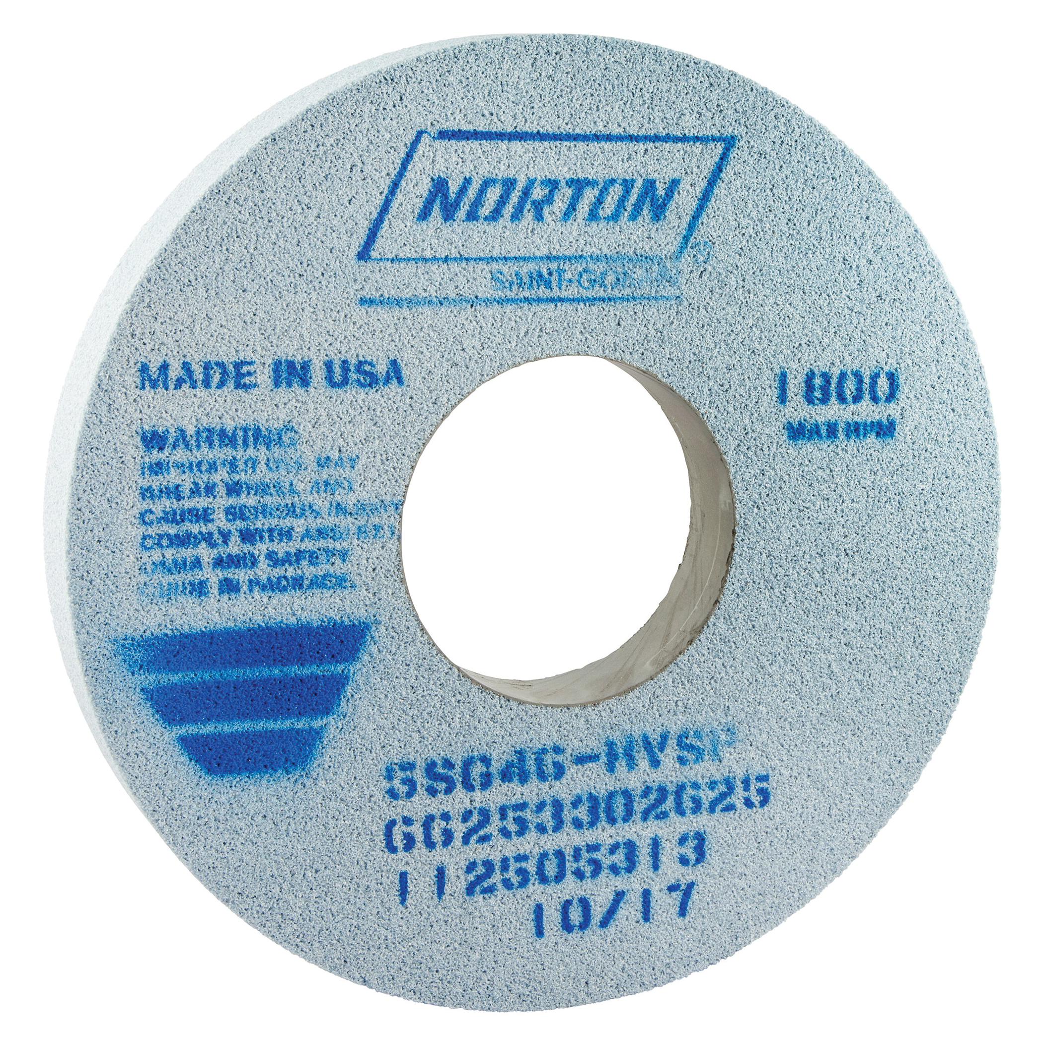 Norton® 66253302625 5SG Straight Toolroom Wheel, 14 in Dia x 1-1/2 in THK, 5 in Center Hole, 46 Grit, Ceramic Alumina/Friable Aluminum Oxide Abrasive