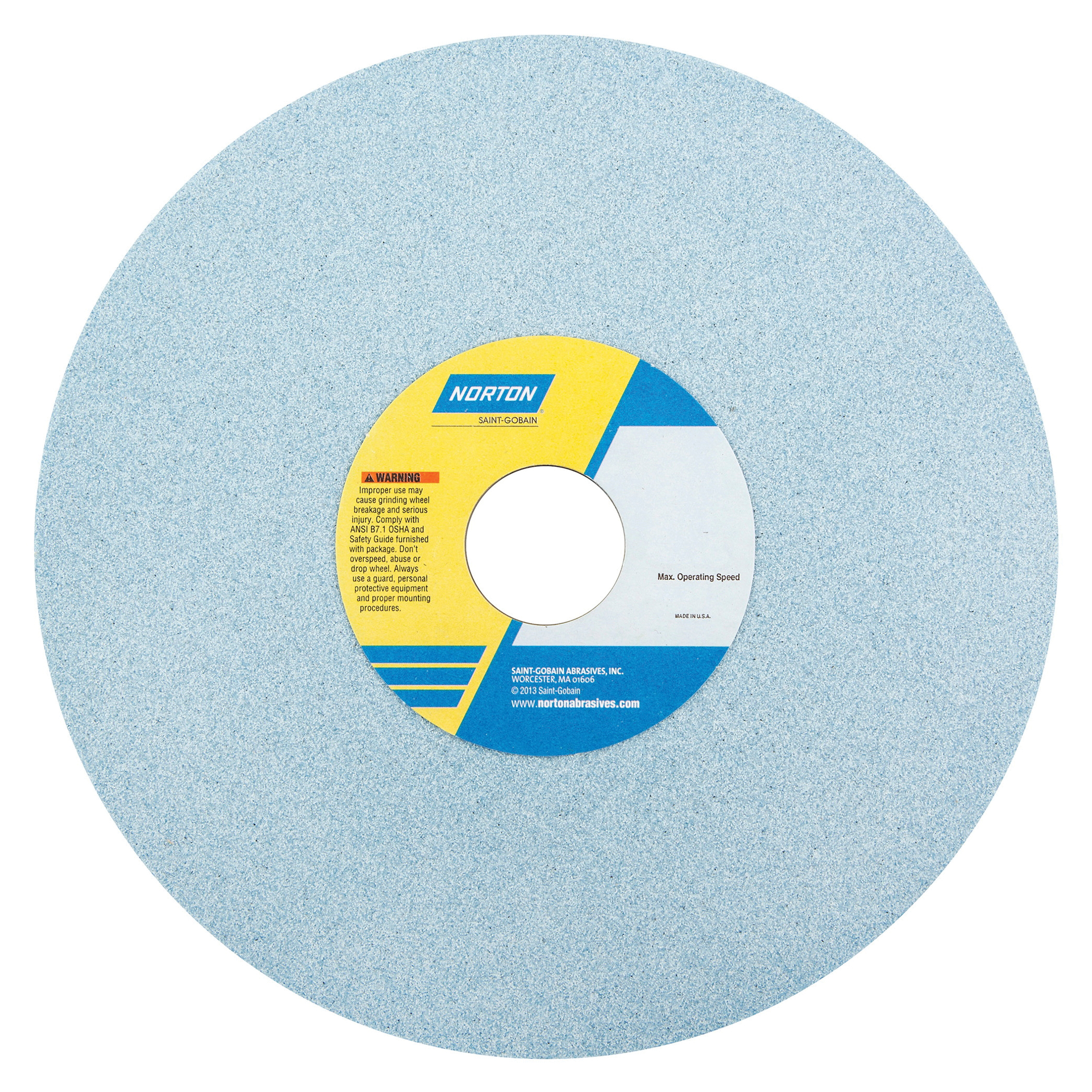Norton® 66253313976 3SGP Straight Toolroom Wheel, 14 in Dia x 1-1/2 in THK, 5 in Center Hole, 46 Grit, Ceramic Alumina/Friable Aluminum Oxide Abrasive