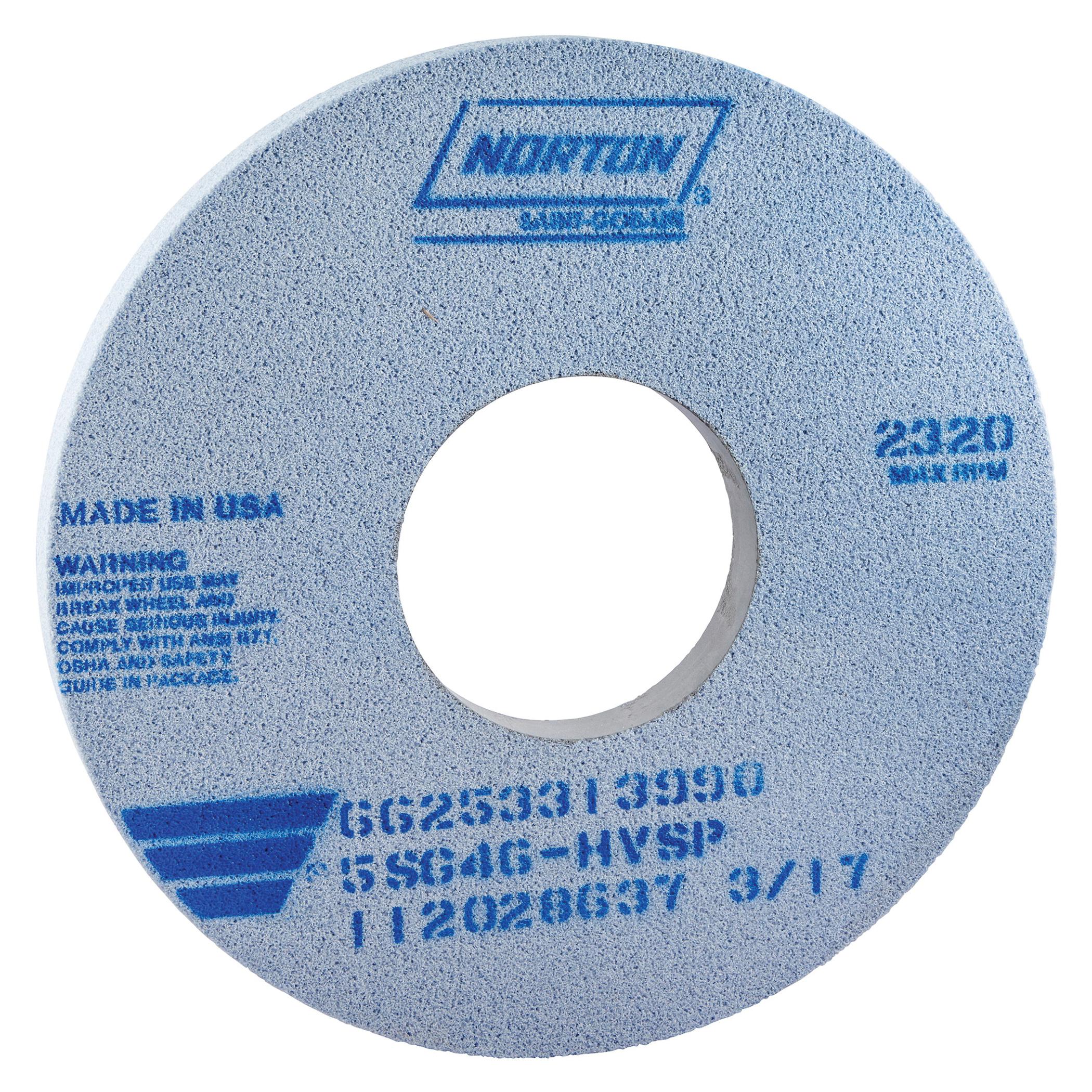 Norton® 66253313990 5SG Straight Toolroom Wheel, 14 in Dia x 1 in THK, 5 in Center Hole, 46 Grit, Ceramic Alumina/Friable Aluminum Oxide Abrasive