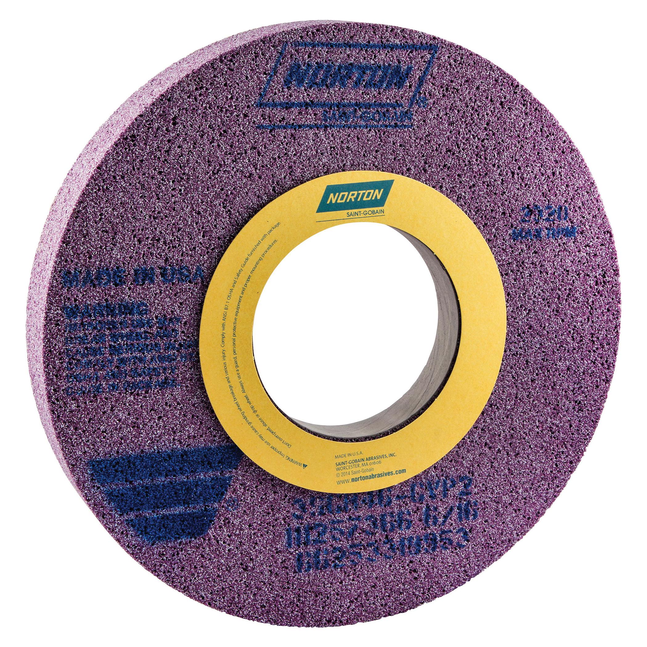 Norton® 66253319953 3SGR 1-Side Recessed Toolroom Wheel, 14 in Dia x 1-1/2 in THK, 5 in Center Hole, 46 Grit, Ceramic Alumina Abrasive