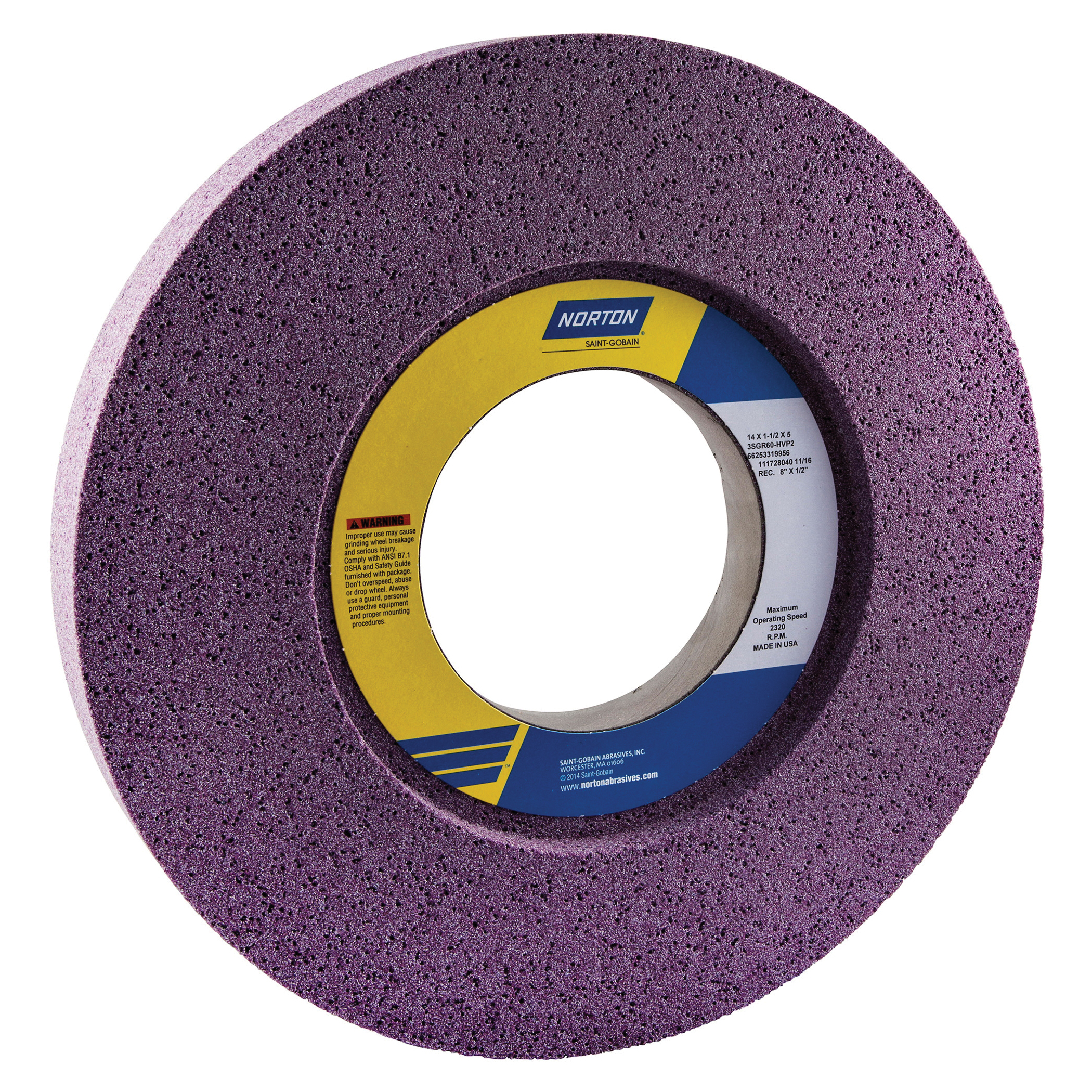 Norton® 66253319956 3SGR 1-Side Recessed Toolroom Wheel, 14 in Dia x 1-1/2 in THK, 5 in Center Hole, 60 Grit, Ceramic Alumina Abrasive