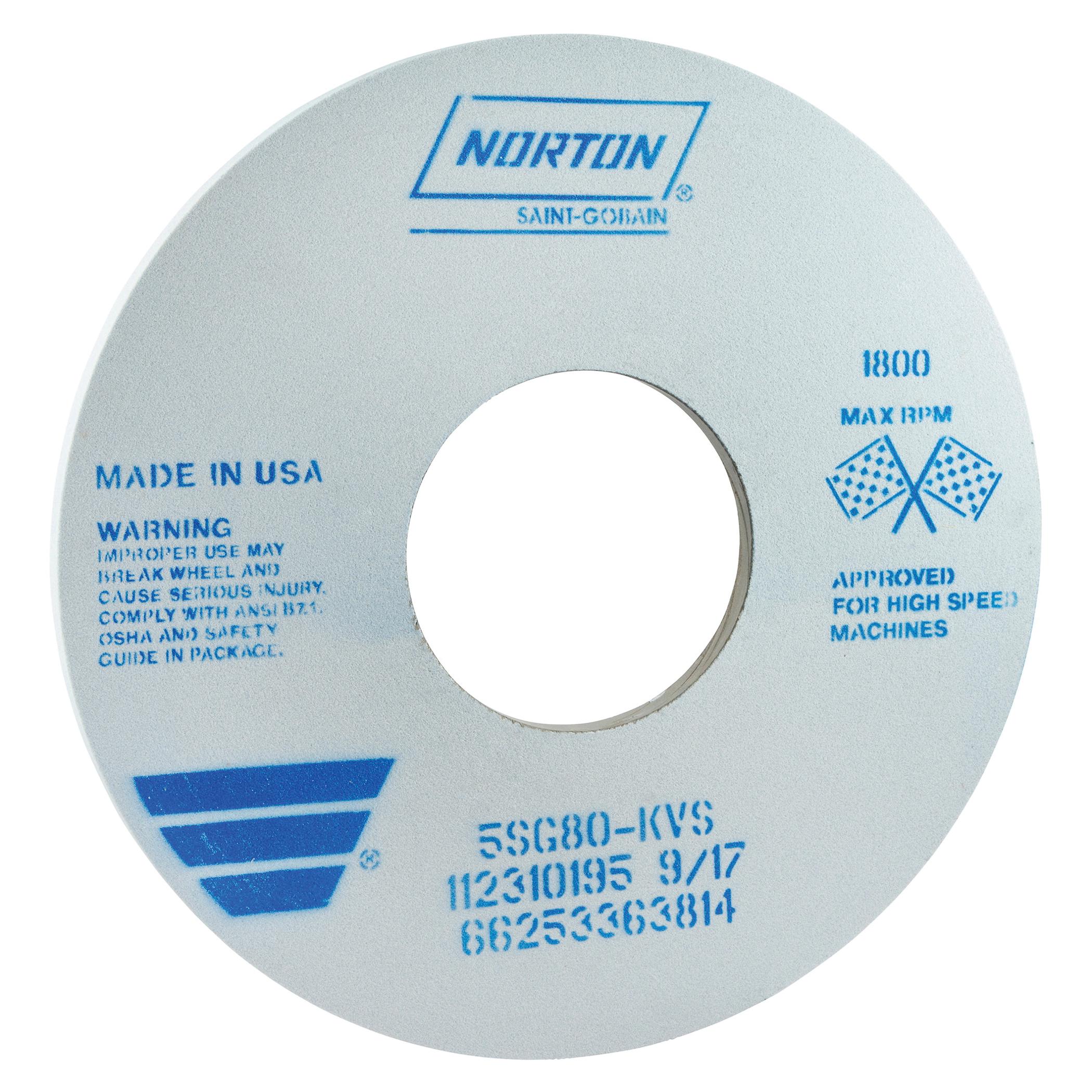 Norton® 66253363814 5SG Straight Toolroom Wheel, 14 in Dia x 1/2 in THK, 5 in Center Hole, 80 Grit, Ceramic Alumina/Friable Aluminum Oxide Abrasive