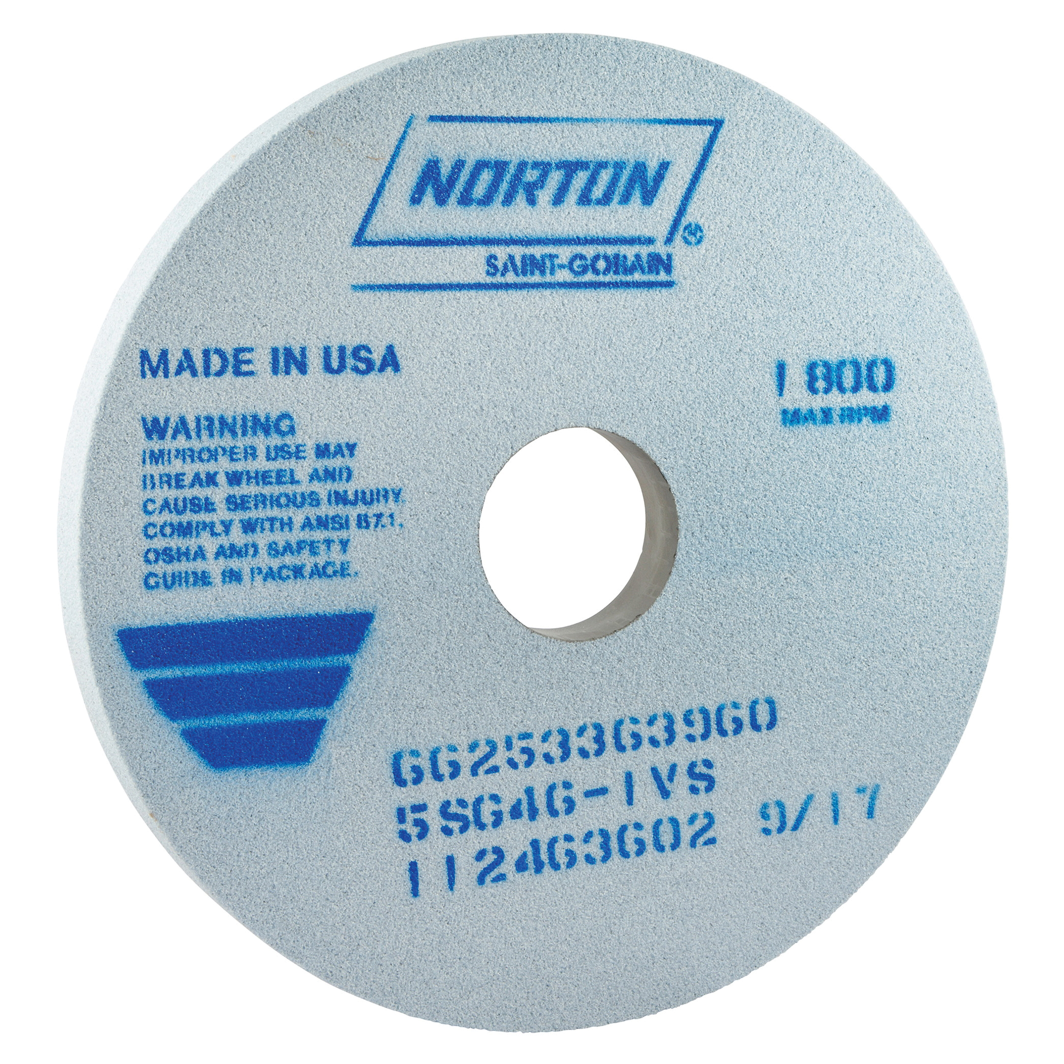 Norton® 66253363960 5SG Straight Toolroom Wheel, 14 in Dia x 1 in THK, 3 in Center Hole, 46 Grit, Ceramic Alumina/Friable Aluminum Oxide Abrasive