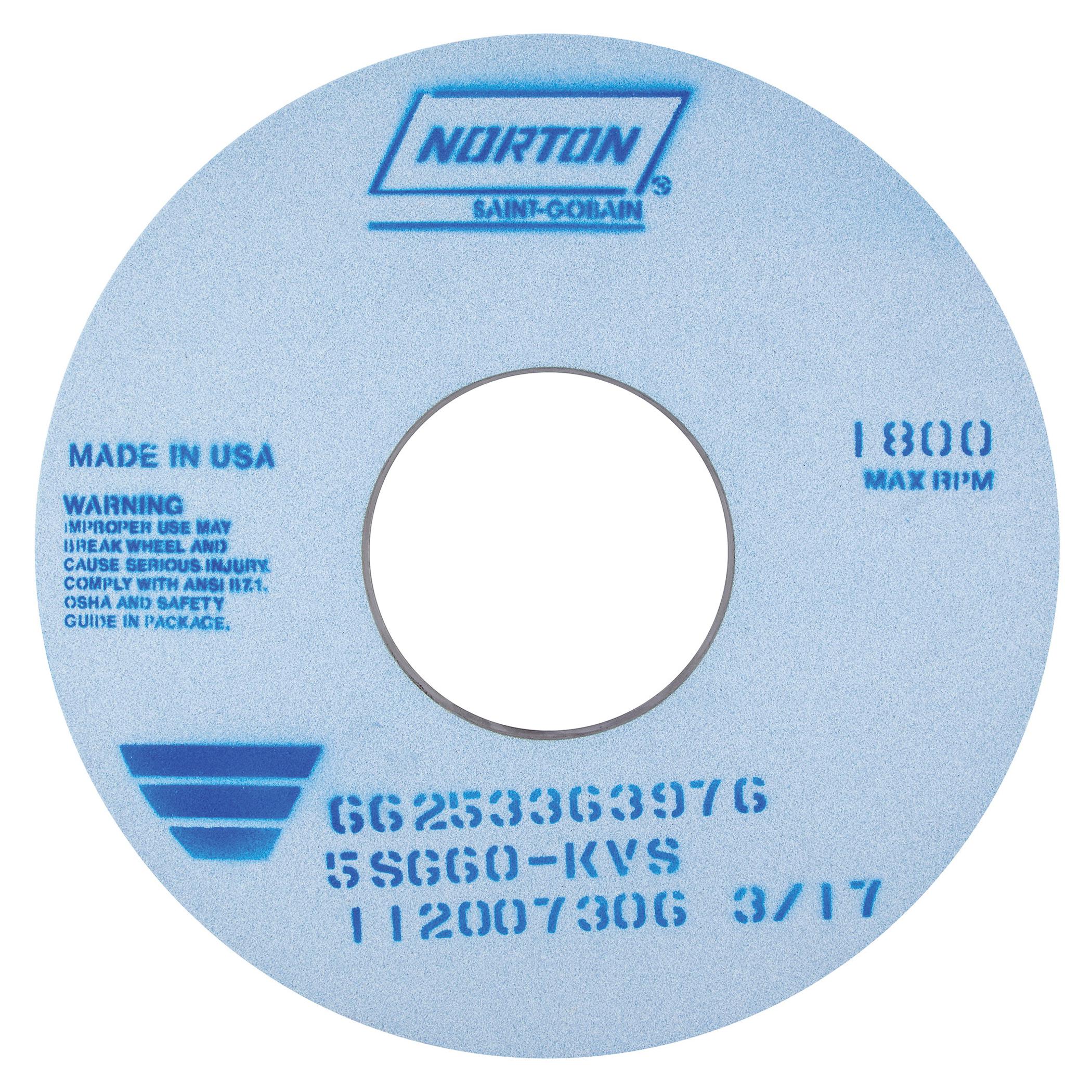Norton® 66253363970 5SG Straight Toolroom Wheel, 14 in Dia x 1 in THK, 5 in Center Hole, 46 Grit, Ceramic Alumina/Friable Aluminum Oxide Abrasive