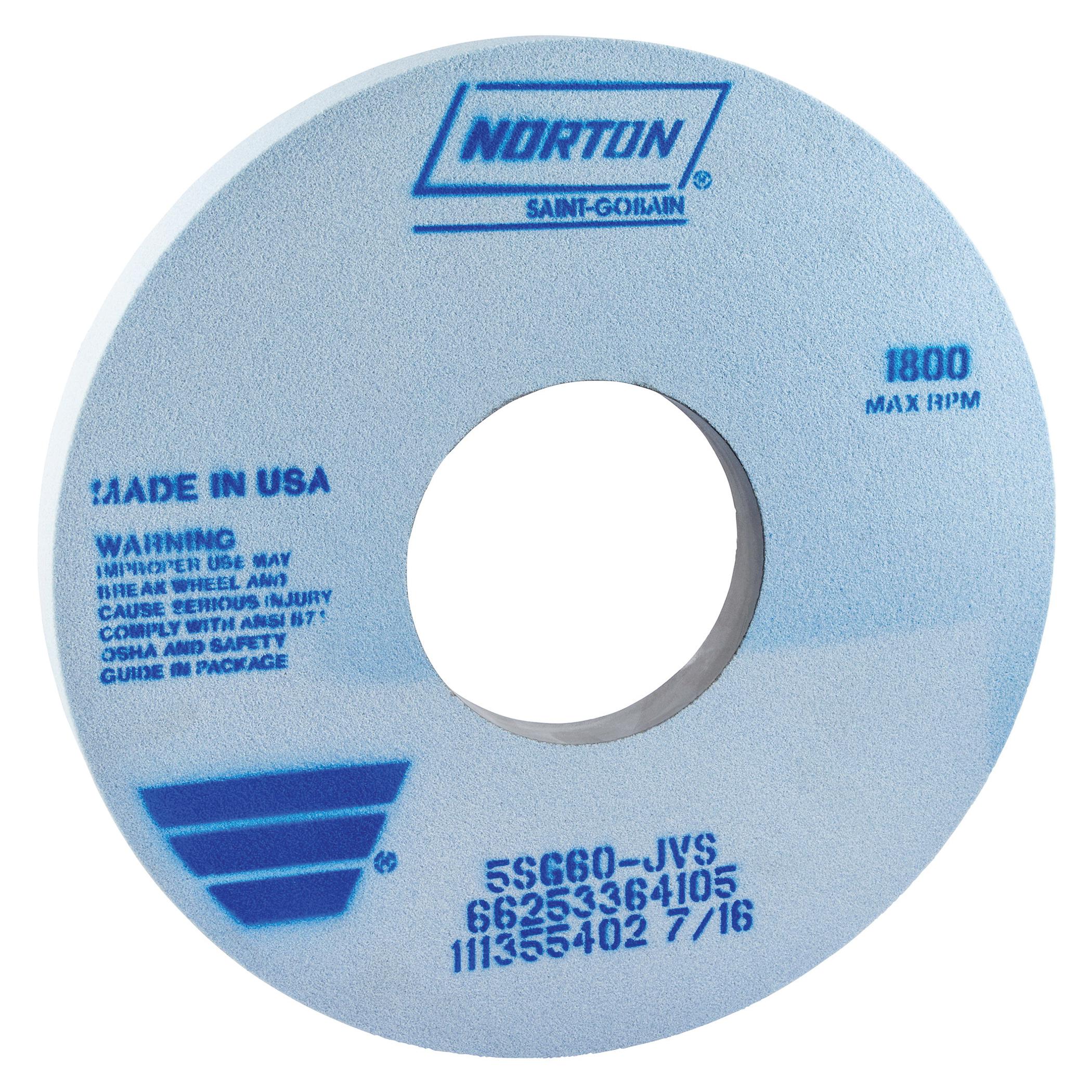 Norton® 66253364103 5SG 1-Side Recessed Toolroom Wheel, 14 in Dia x 1-1/2 in THK, 5 in Center Hole, 46 Grit, Ceramic Alumina/Friable Aluminum Oxide Abrasive