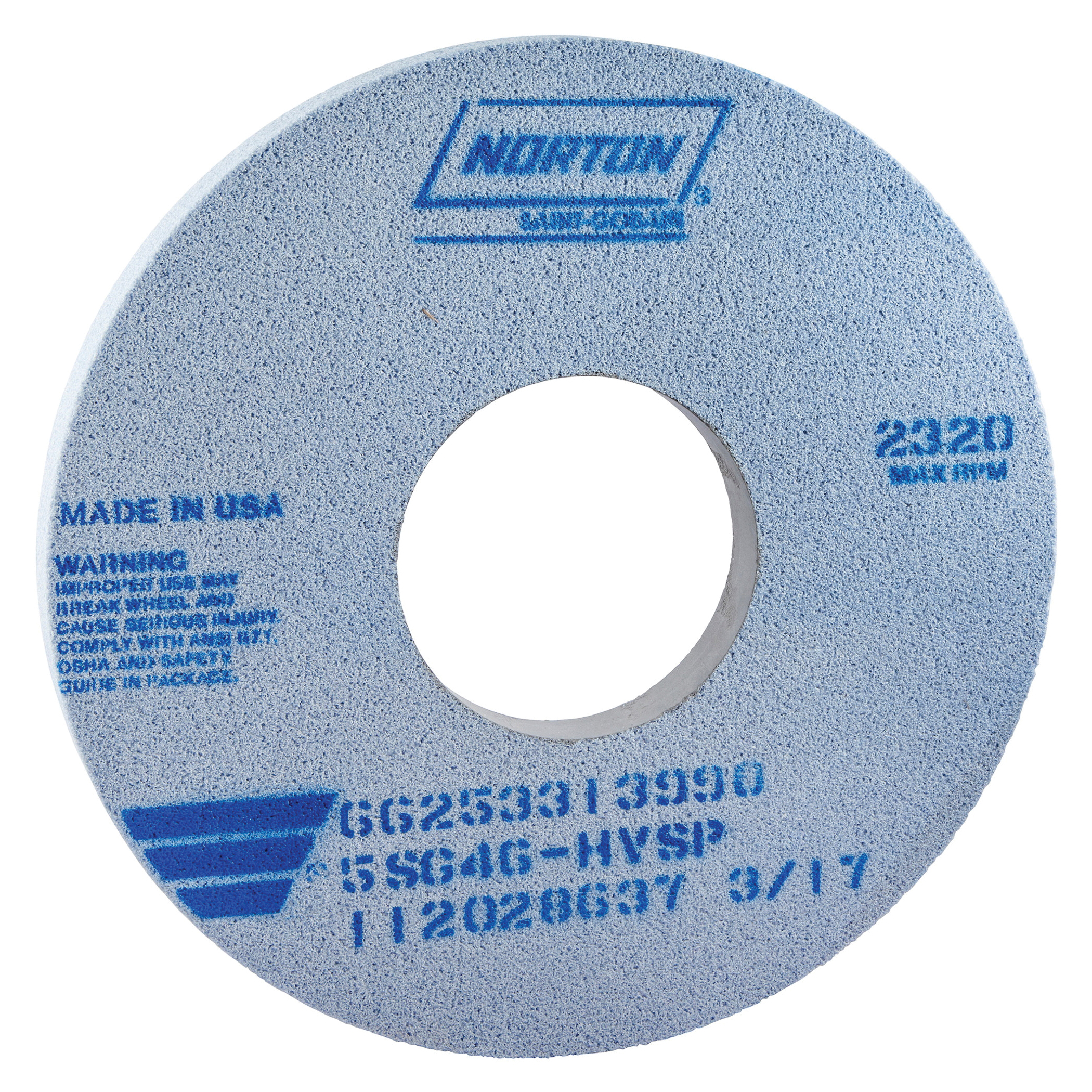 Norton® 66253364108 5SG Straight Toolroom Wheel, 14 in Dia x 1 in THK, 5 in Center Hole, 46 Grit, Ceramic Alumina/Friable Aluminum Oxide Abrasive