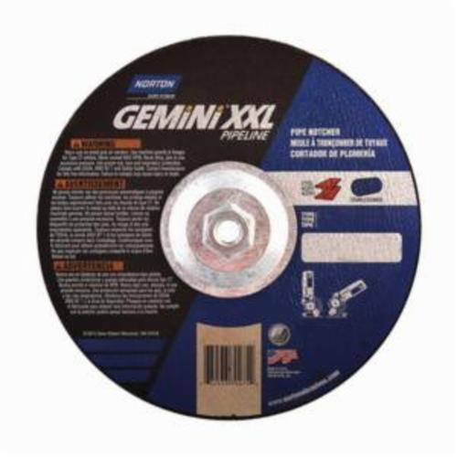 Norton® Gemini® 66253370275 Pipe Notching Depressed Center Wheel, 9 in Dia x 1/8 in THK, 30 Grit, Aluminum Oxide Abrasive
