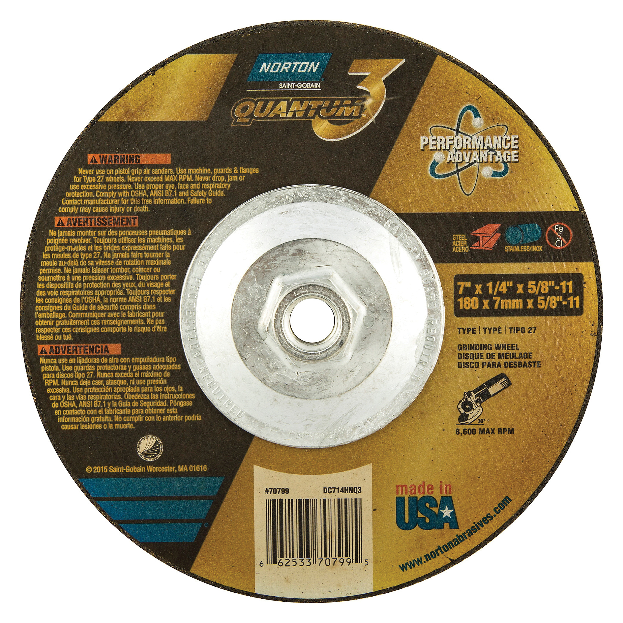 Norton® Quantum™3 66253370799 SG Series Depressed Center Wheel, 7 in Dia x 1/4 in THK, 20 Grit, Ceramic Alumina Abrasive