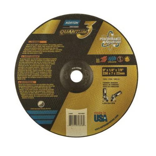 Norton® Quantum™3 66253370848 SG Series Depressed Center Wheel, 9 in Dia x 1/4 in THK, 20 Grit, Ceramic Alumina Abrasive