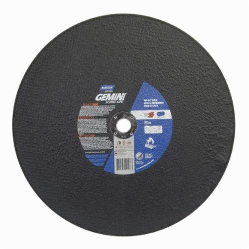 Norton® Gemini® 66253410198 Long Life Cut-Off Wheel, 16 in Dia x 7/64 in THK, 1 in Center Hole, 36 Grit, Aluminum Oxide Abrasive