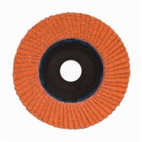 Norton® Blaze® 66254400255 R980P Center Mount Quick-Trim Standard Density Coated Abrasive Flap Disc, 4-1/2 in Dia, 7/8 in Center Hole, 80 Grit, Coarse Grade, Ceramic Alumina Abrasive, Type 27/Flat Disc