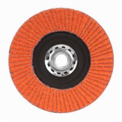 Norton® Blaze® 66254400259 R980P Arbor Thread Quick-Trim Standard Density Coated Abrasive Flap Disc, 4-1/2 in Dia, 80 Grit, Coarse Grade, Ceramic Alumina Abrasive, Type 27/Flat Disc