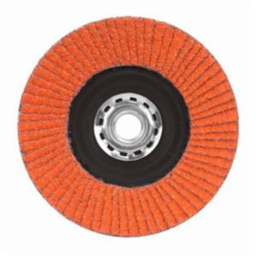 Norton® Blaze® 66254400261 R980P Arbor Thread Quick-Trim Standard Density Coated Abrasive Flap Disc, 4-1/2 in Dia, 120 Grit, Medium Grade, Ceramic Alumina Abrasive, Type 27/Flat Disc