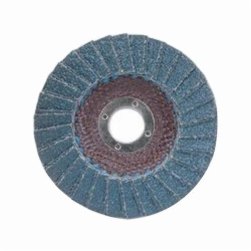Norton® Metal® 66254419984 R828 Center Mount Standard Density Coated Abrasive Flap Disc, 4-1/2 in Dia, 7/8 in Center Hole, P60 Grit, Coarse Grade, Zirconia Alumina Abrasive, Type 29/Conical Disc