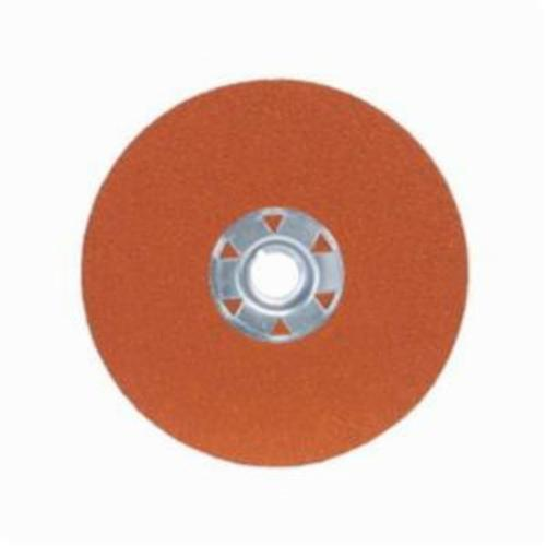 Norton® Blaze® 66254425336 SG F980 Heavy Duty Coated Locking Abrasive Disc, 5 in Dia, 5/8-11 Center Hole, 24 Grit, Extra Coarse Grade, Premium Ceramic Alumina Abrasive, Speed Change Fastener Attachment